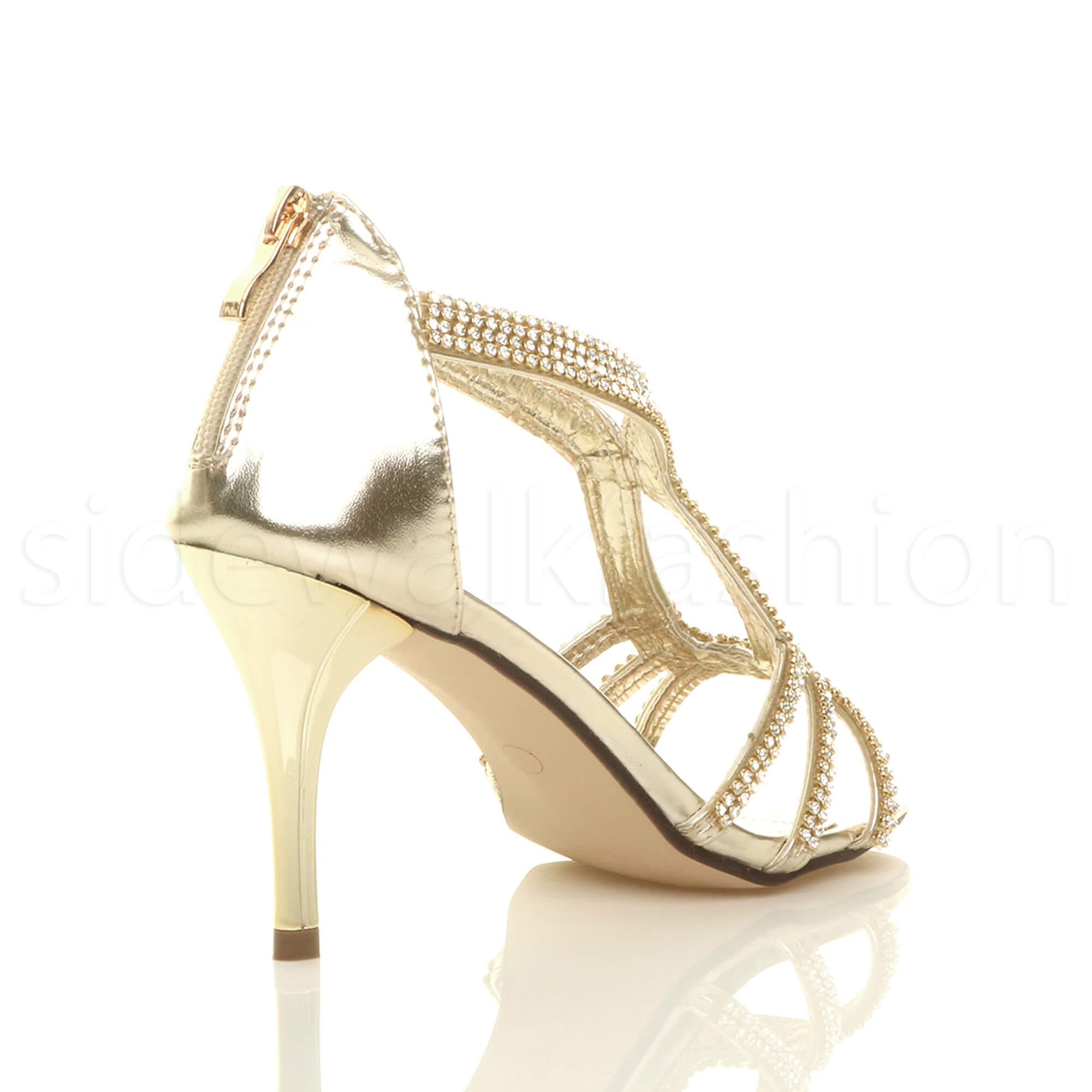 Womens-ladies-stiletto-mid-heel-bridal-sparkly-evening-prom-party-sandals-size thumbnail 13