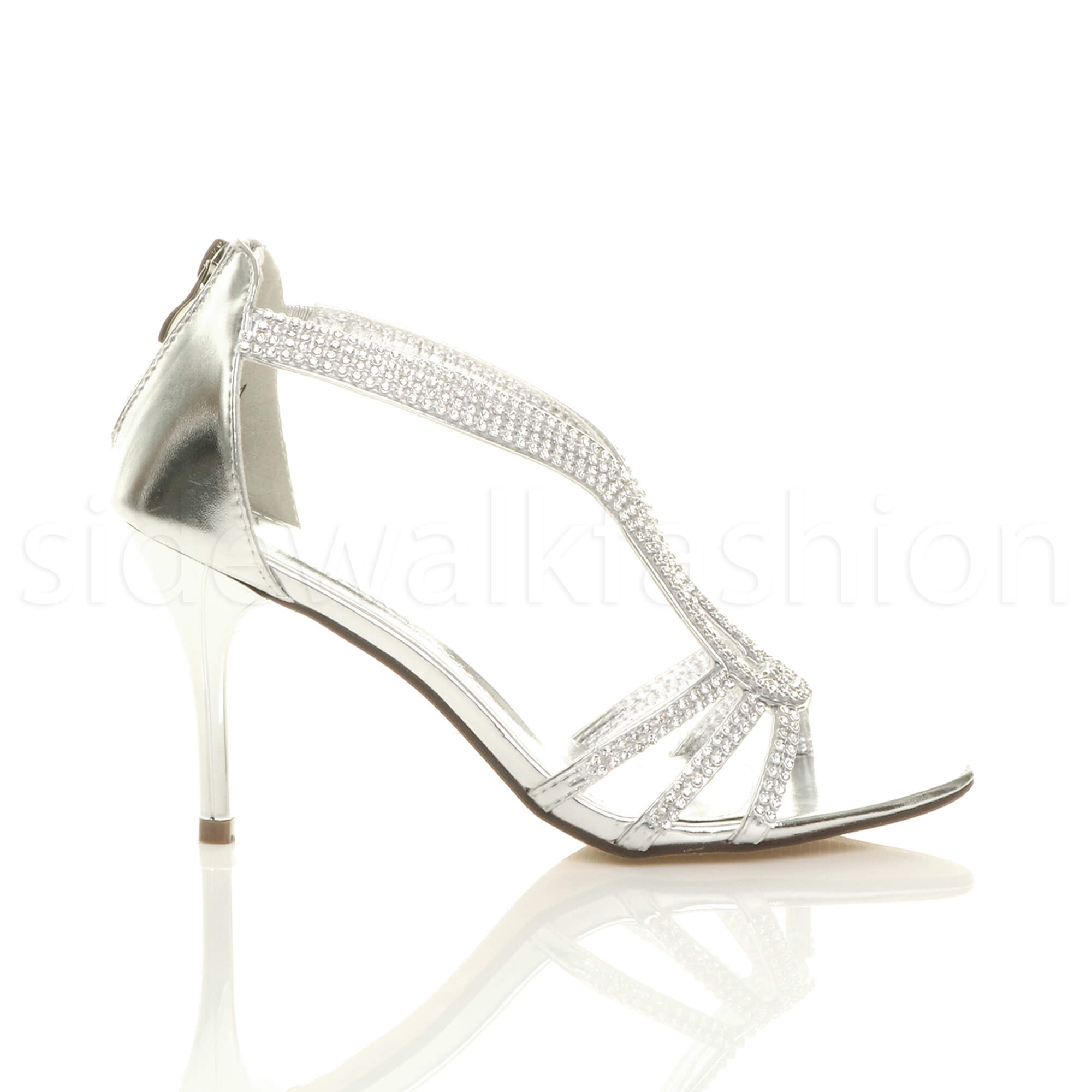 Womens-ladies-stiletto-mid-heel-bridal-sparkly-evening-prom-party-sandals-size thumbnail 19