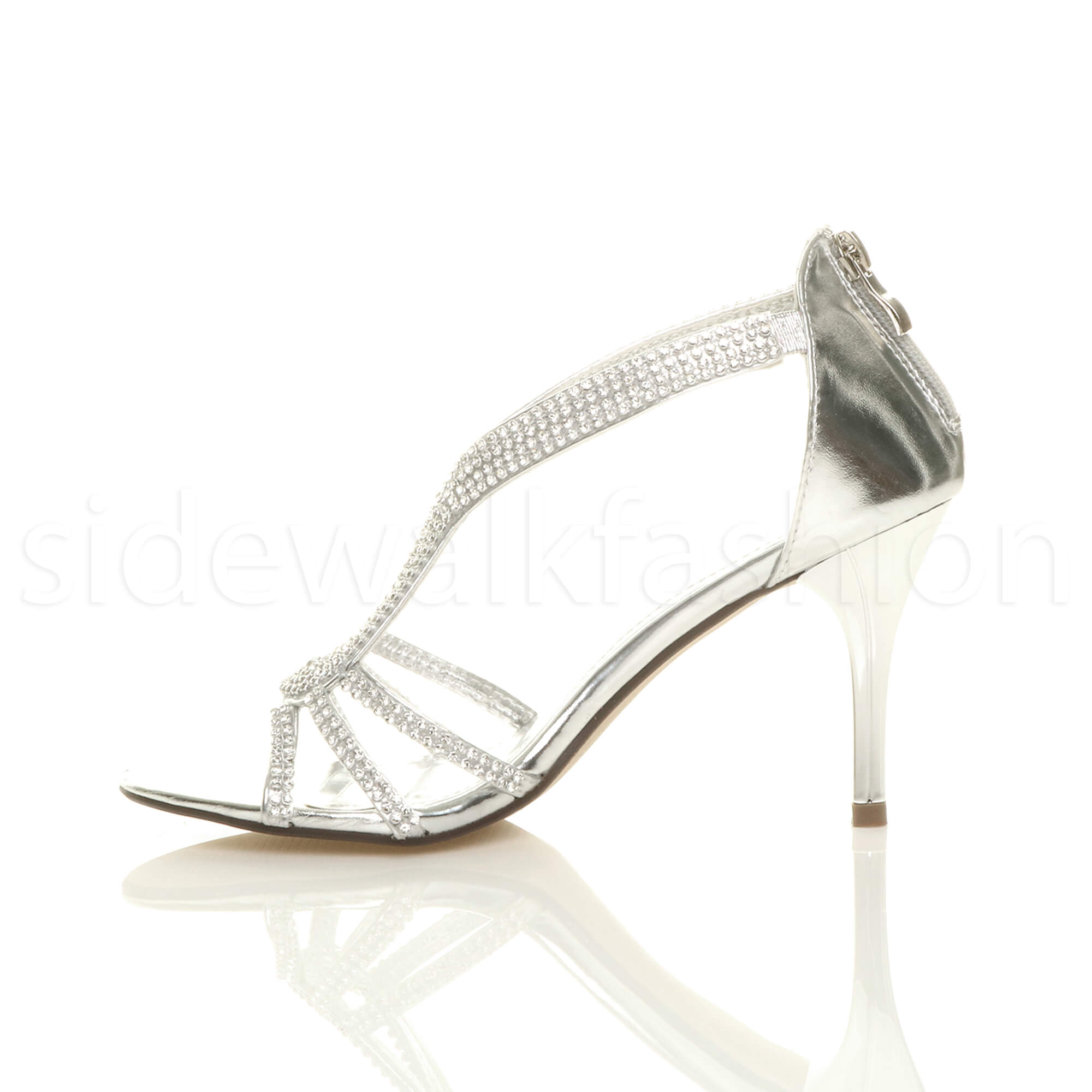 Womens-ladies-stiletto-mid-heel-bridal-sparkly-evening-prom-party-sandals-size thumbnail 20