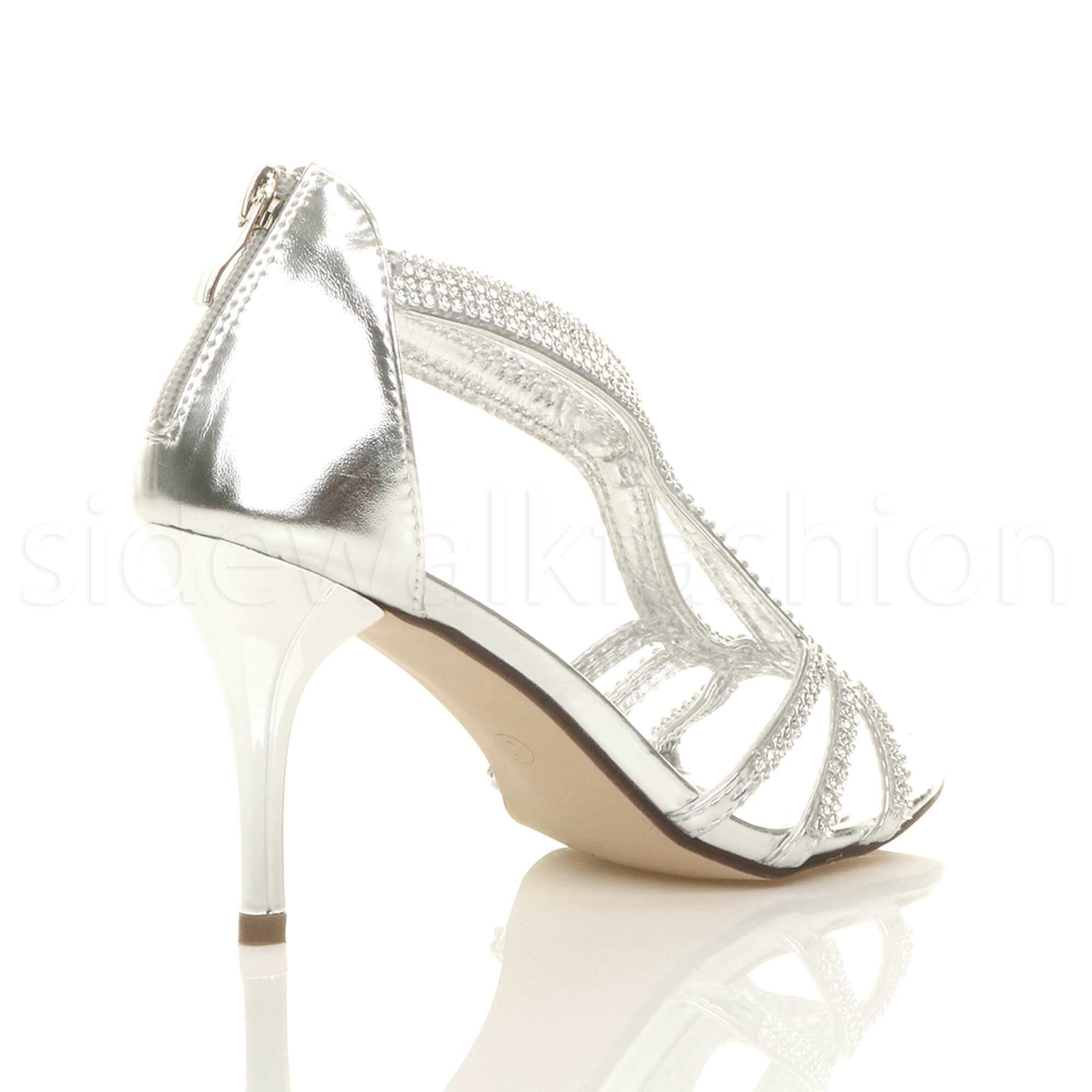 Womens-ladies-stiletto-mid-heel-bridal-sparkly-evening-prom-party-sandals-size thumbnail 21