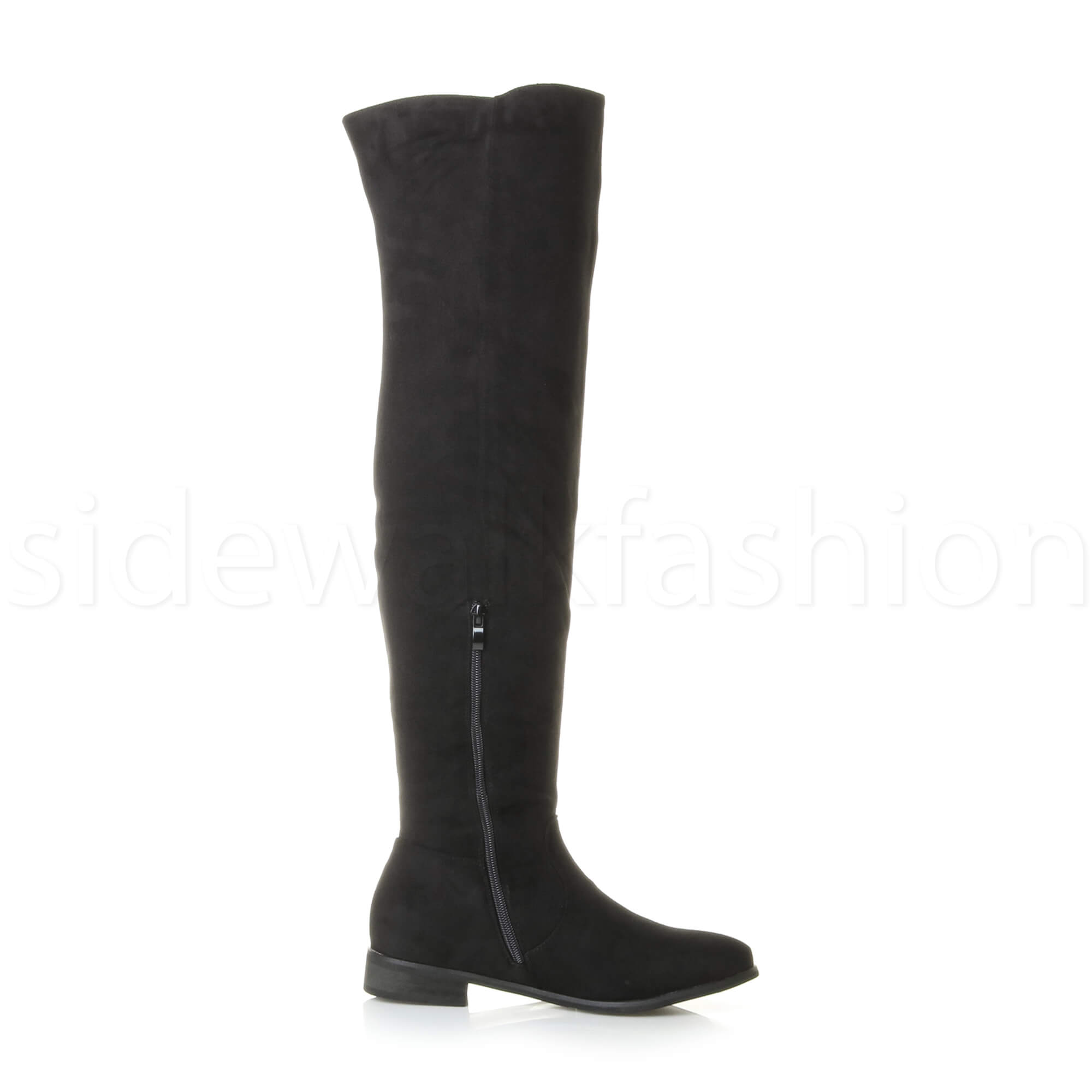 2ce904e94e85 Womens Ladies High Over The Knee Wide Stretch Pull on Flat Low Heel ...