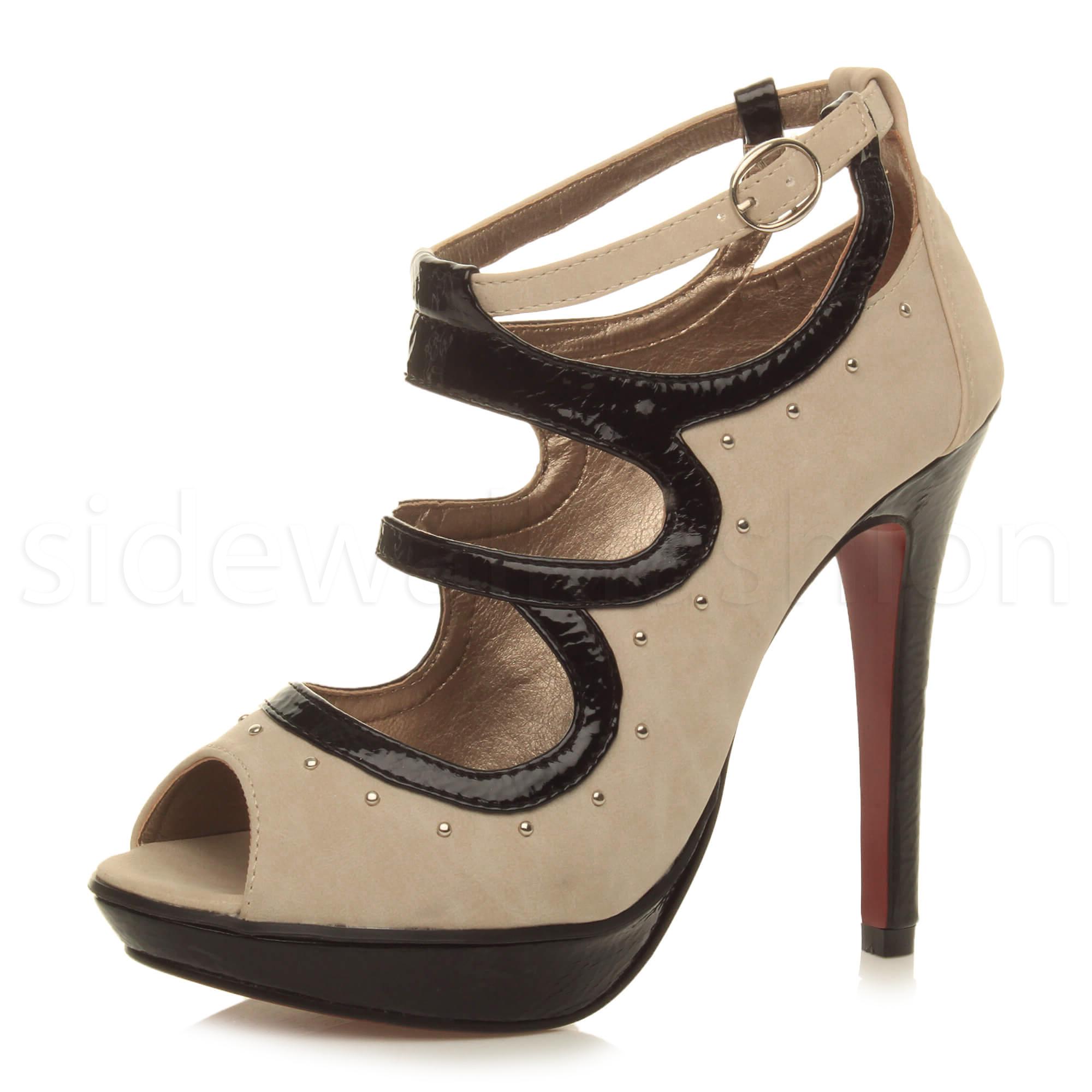 745932bb77f Womens ladies high heel platform studded cut out sandals peep toe ...