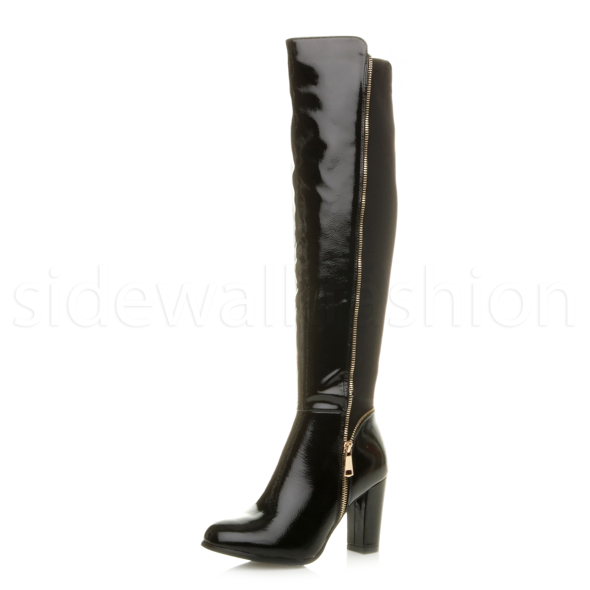 2b65fa54879 ... High Block Heel Gold Zip Stretch Over The Knee Riding BOOTS Size UK 4    EU 37   US 6 Black Patent. About this product. Picture 1 of 6  Picture 2 of  6 ...