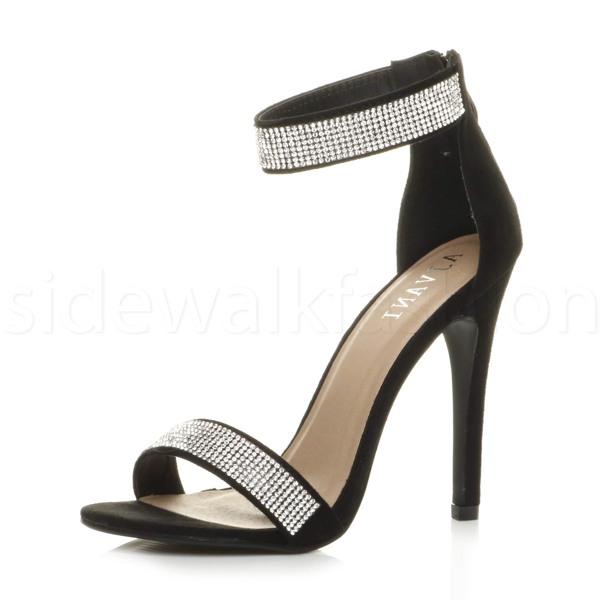 7af807d909c2 Womens ladies high heel ankle strap diamante sandals party evening shoes  size