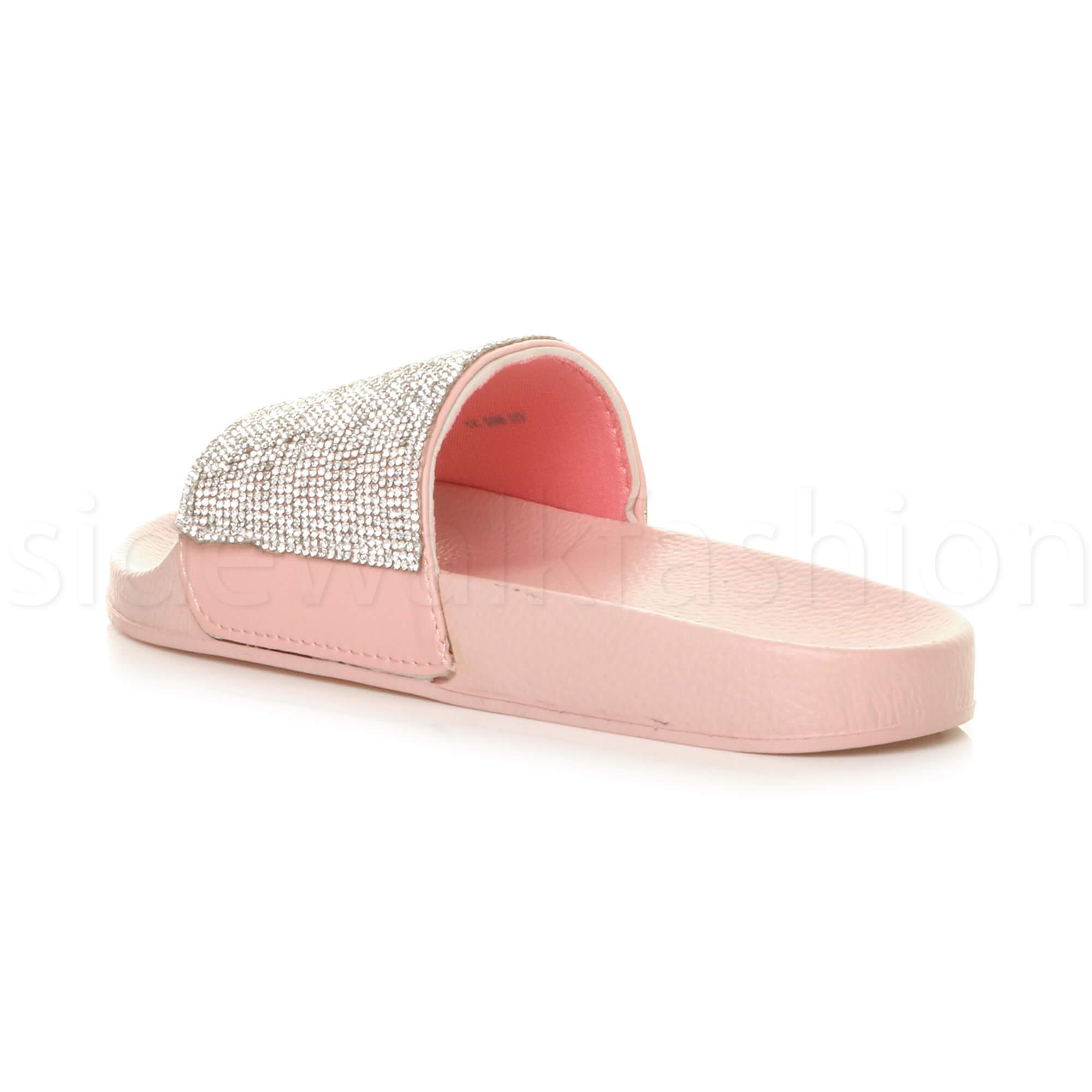 Womens-ladies-flat-slip-on-sparkly-summer-diamante-sandals-flip-flops-sliders