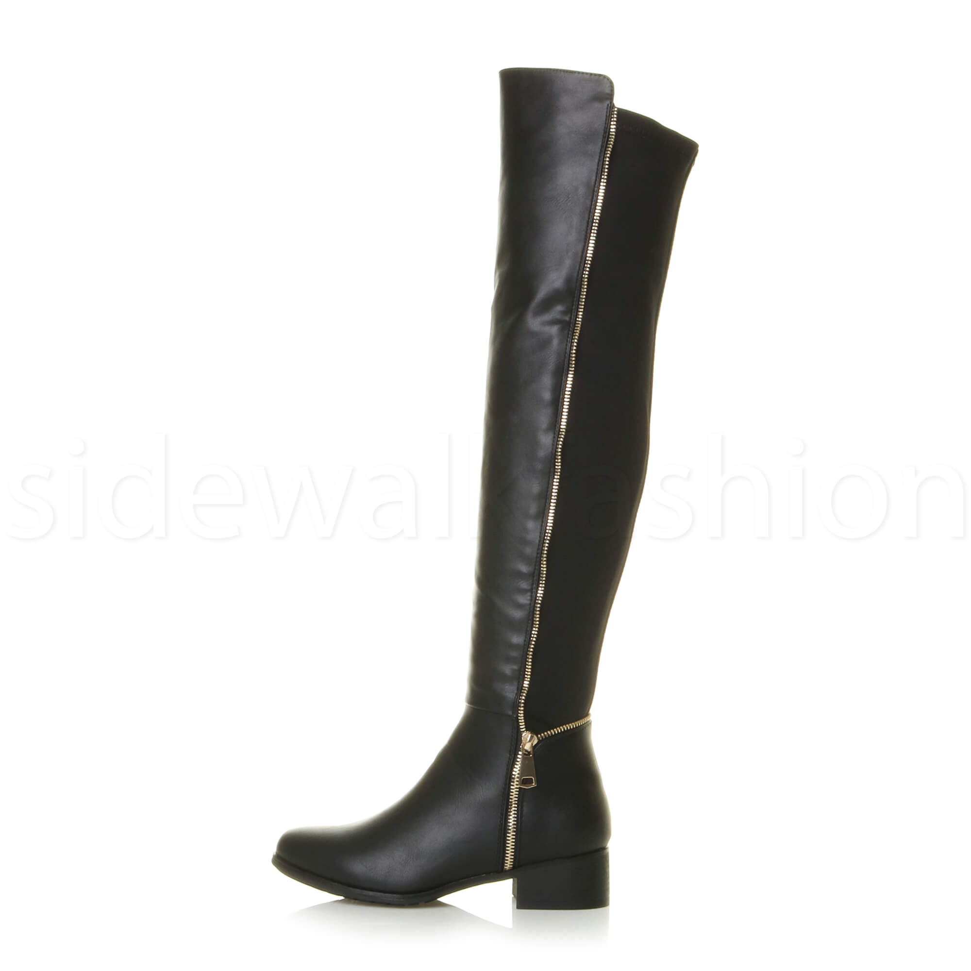Womens ladies low heel stretch gold zip over the knee high riding ...