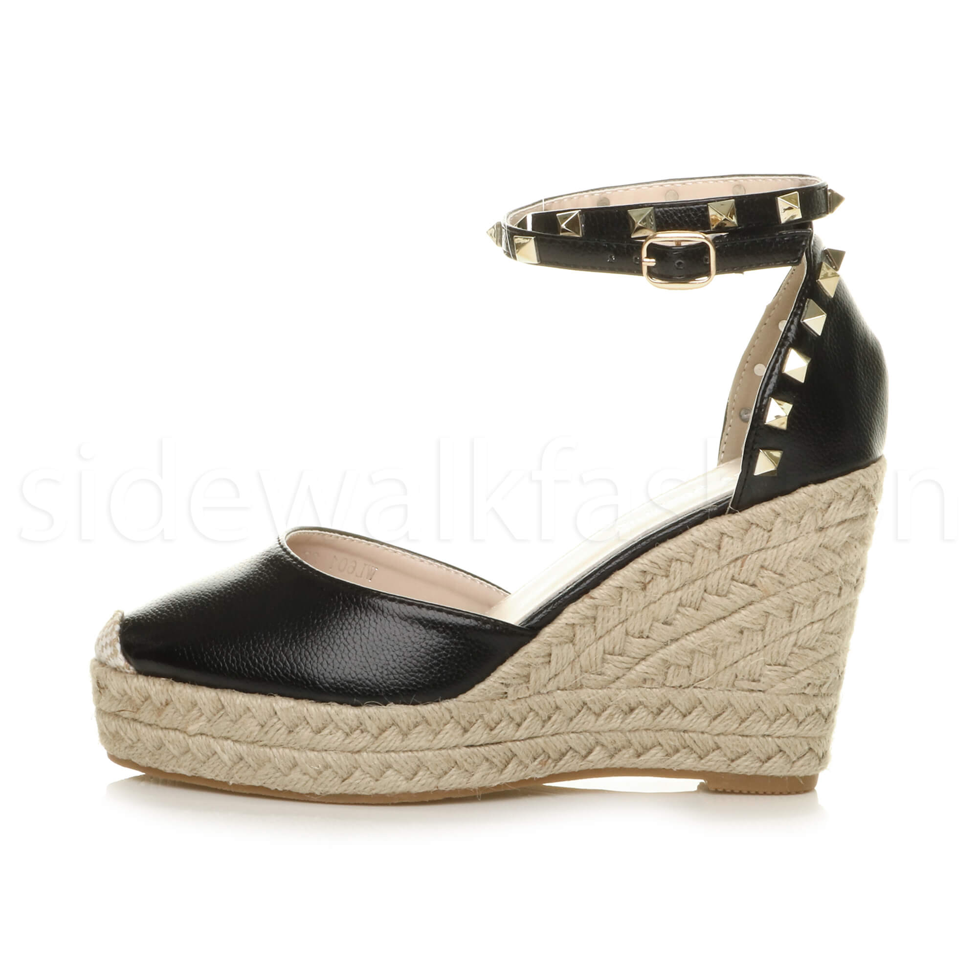 Womens-ladies-high-wedge-studded-double-ankle-strap-espadrilles-sandals-size thumbnail 3