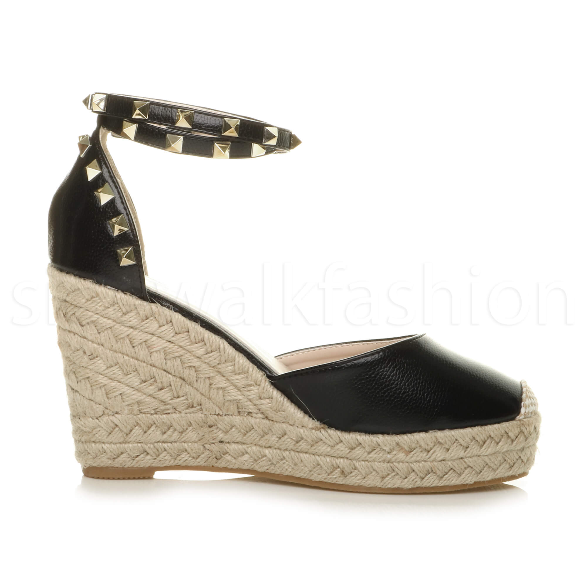 Womens-ladies-high-wedge-studded-double-ankle-strap-espadrilles-sandals-size thumbnail 4