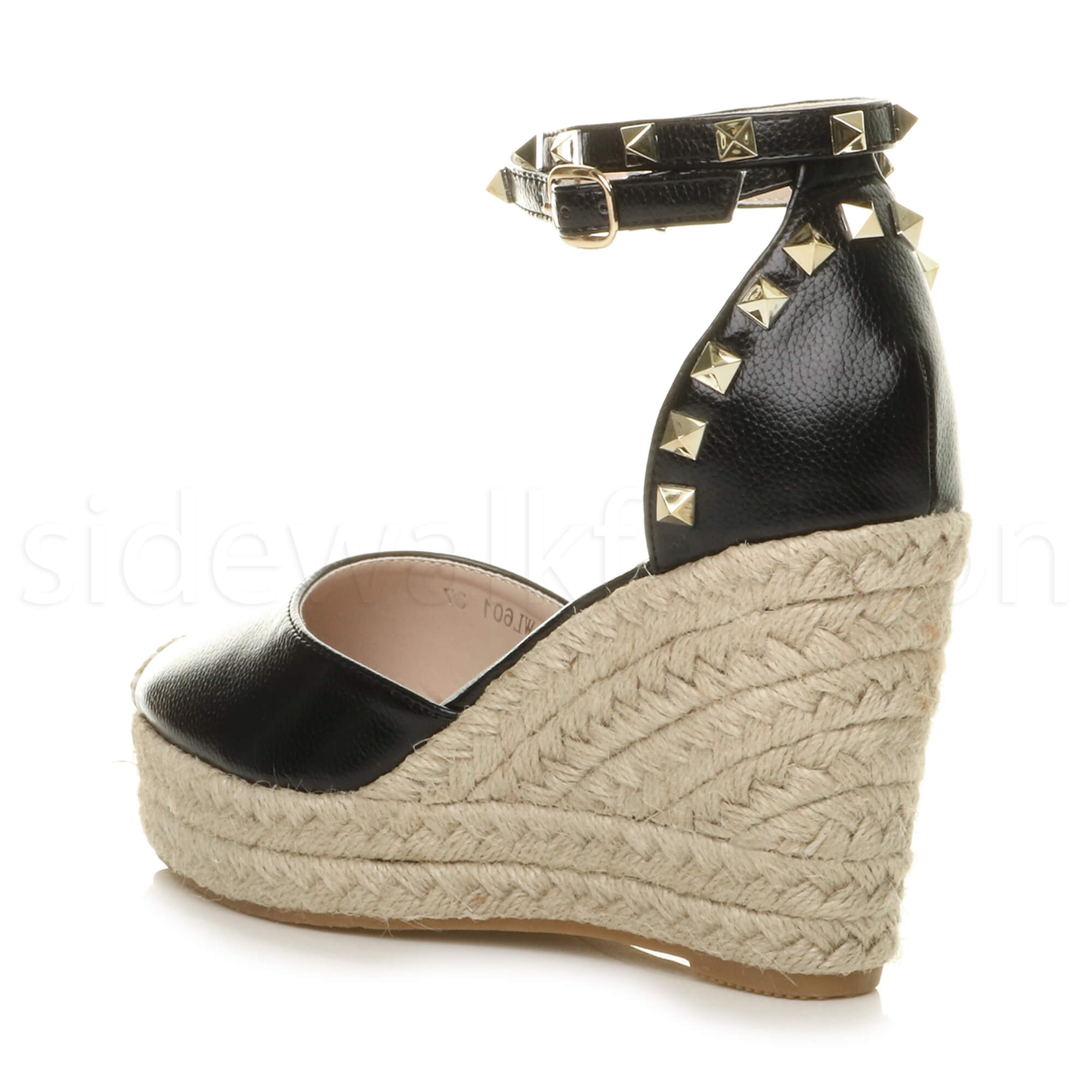 Womens-ladies-high-wedge-studded-double-ankle-strap-espadrilles-sandals-size thumbnail 5