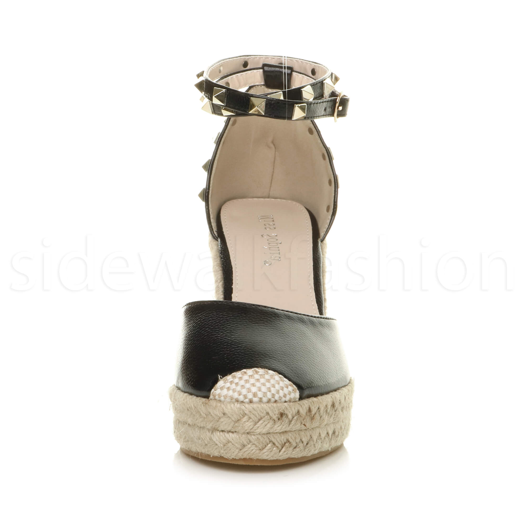 Womens-ladies-high-wedge-studded-double-ankle-strap-espadrilles-sandals-size thumbnail 7