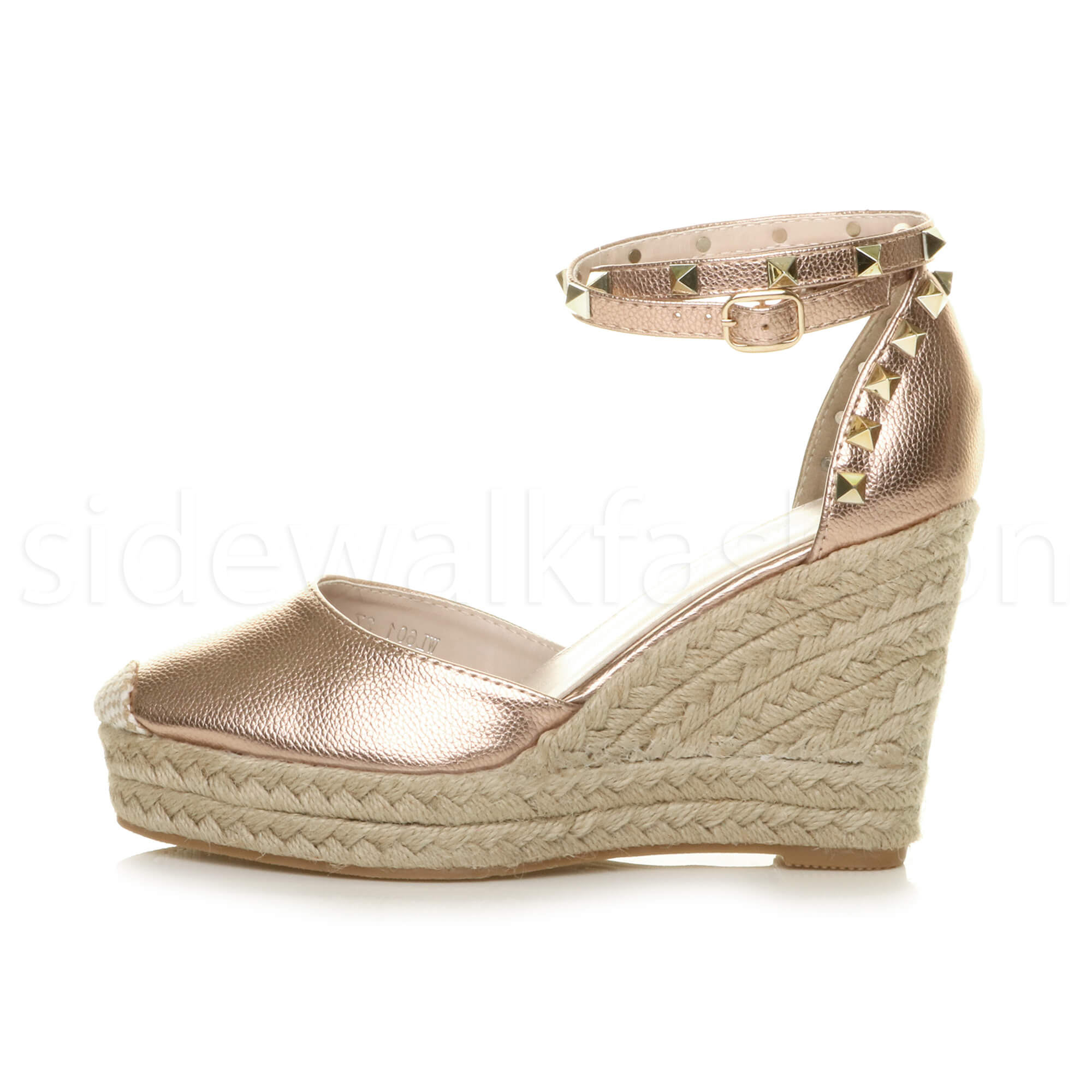 Womens-ladies-high-wedge-studded-double-ankle-strap-espadrilles-sandals-size thumbnail 19