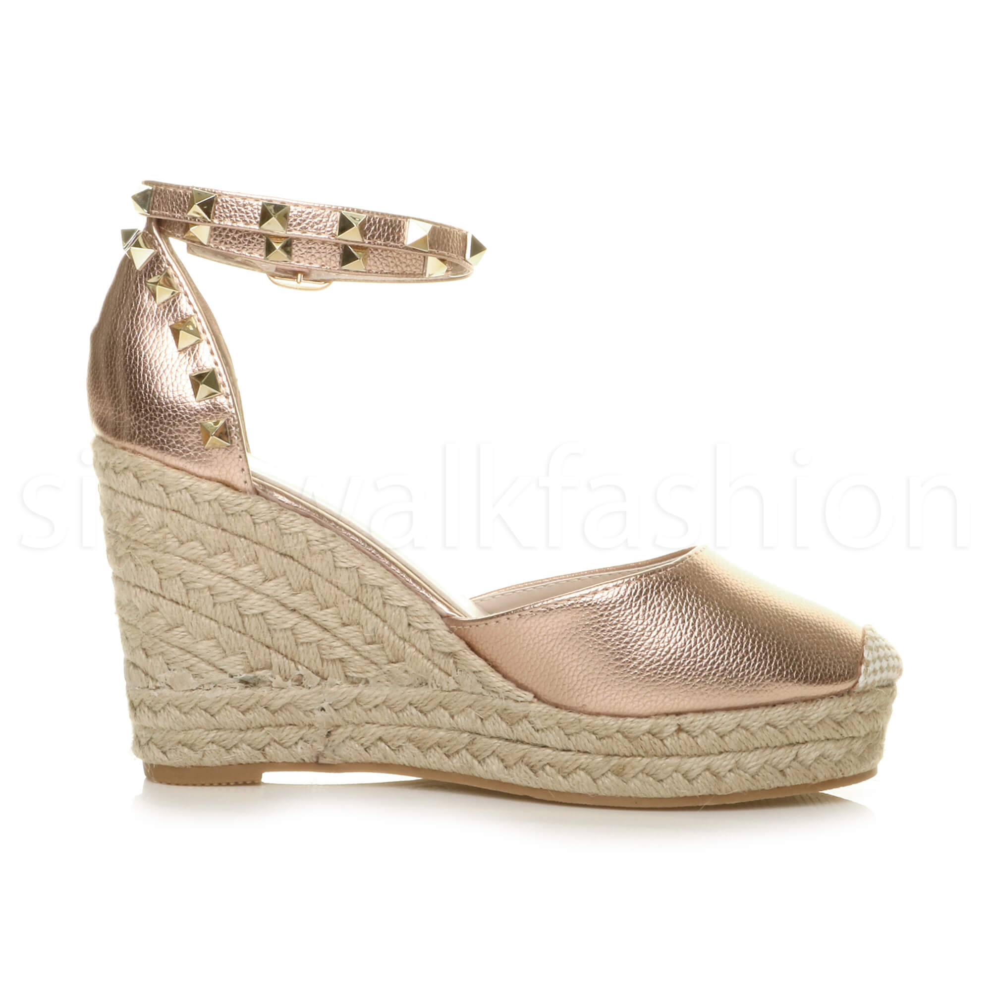 Womens-ladies-high-wedge-studded-double-ankle-strap-espadrilles-sandals-size thumbnail 20