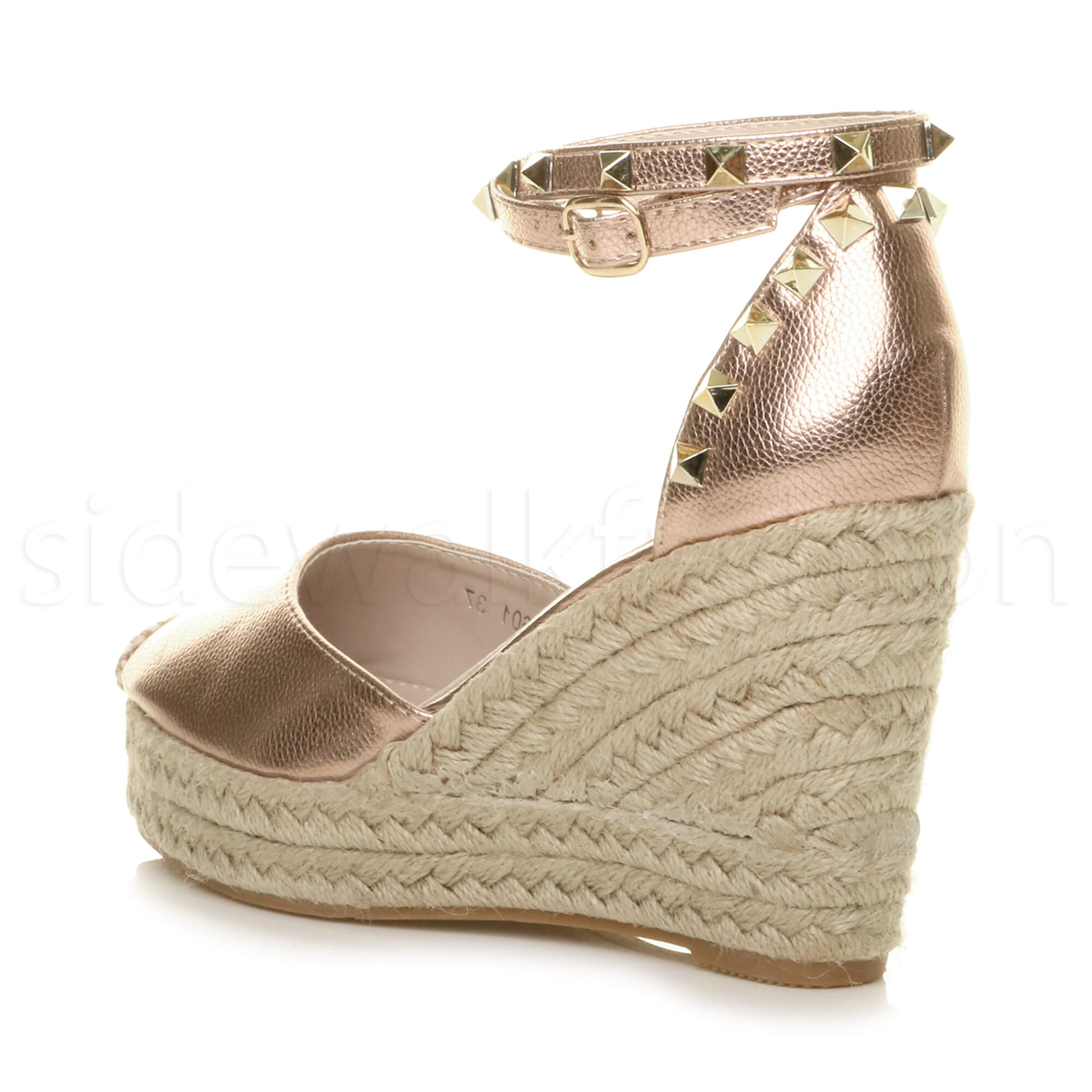 Womens-ladies-high-wedge-studded-double-ankle-strap-espadrilles-sandals-size thumbnail 21