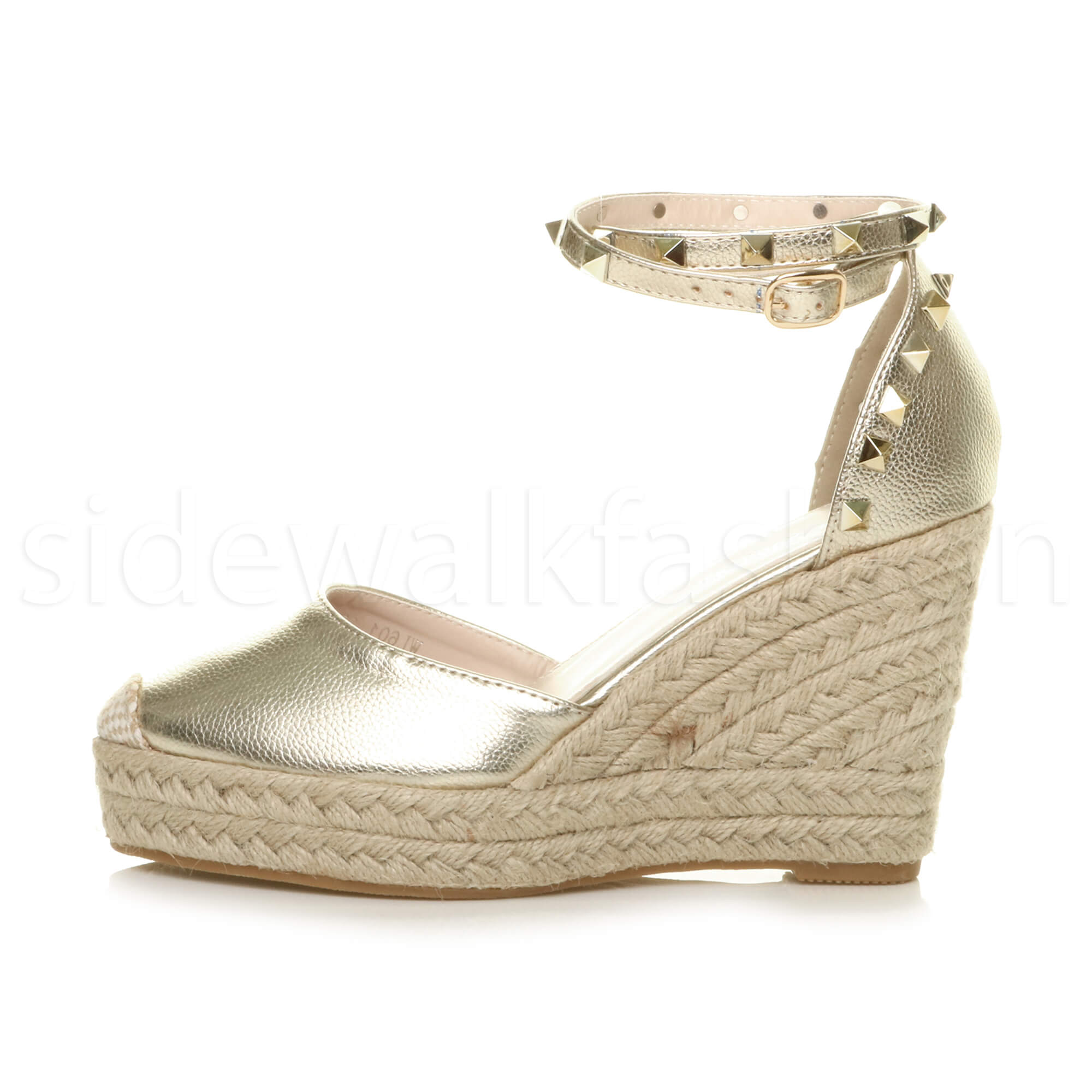 Womens-ladies-high-wedge-studded-double-ankle-strap-espadrilles-sandals-size thumbnail 11