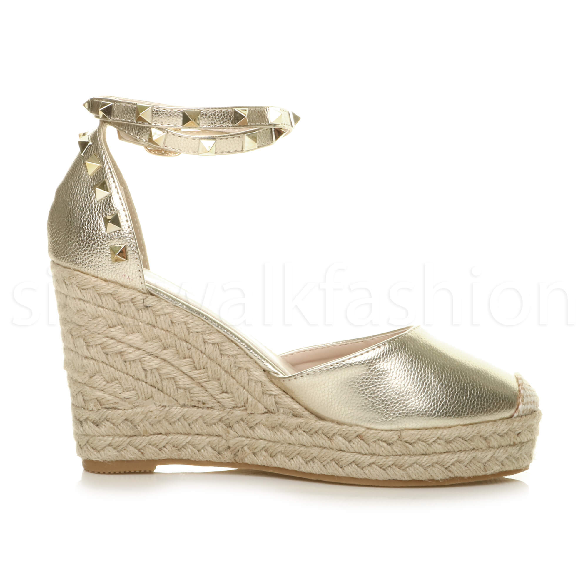 Womens-ladies-high-wedge-studded-double-ankle-strap-espadrilles-sandals-size thumbnail 12