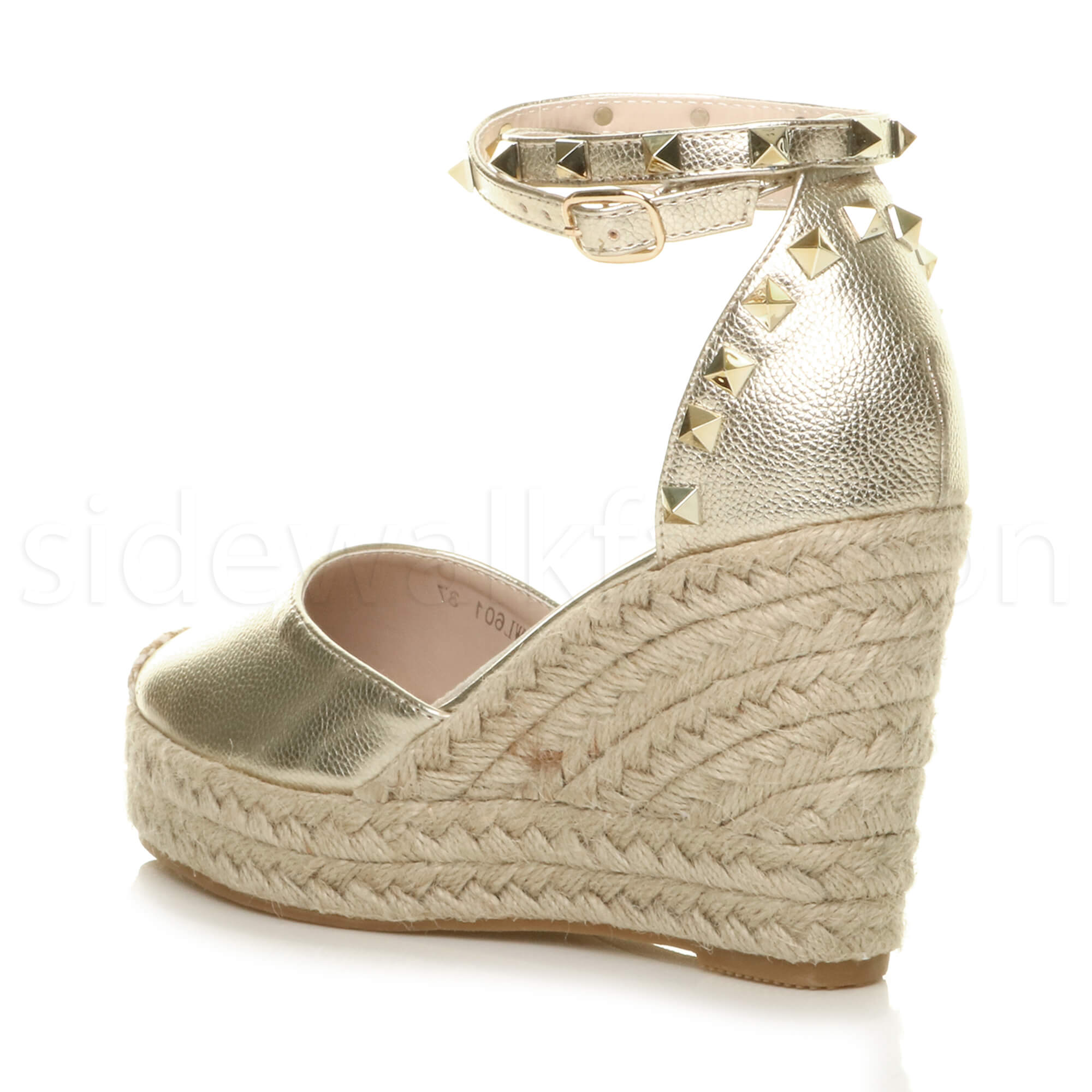Womens-ladies-high-wedge-studded-double-ankle-strap-espadrilles-sandals-size thumbnail 13
