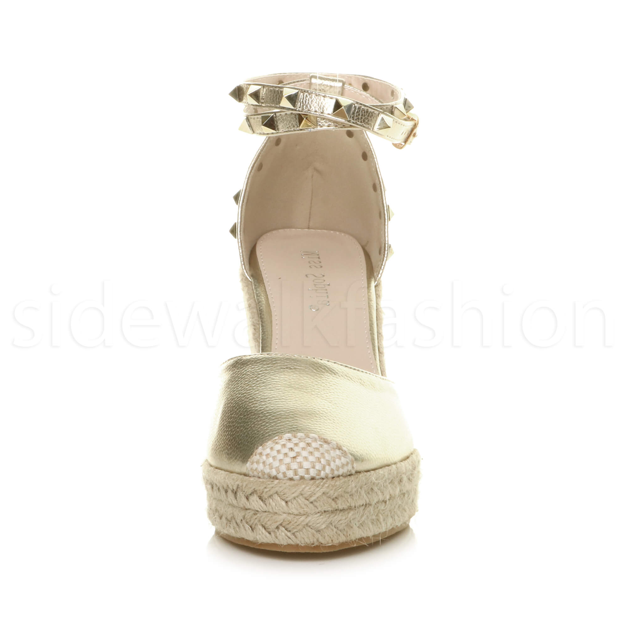 Womens-ladies-high-wedge-studded-double-ankle-strap-espadrilles-sandals-size thumbnail 15