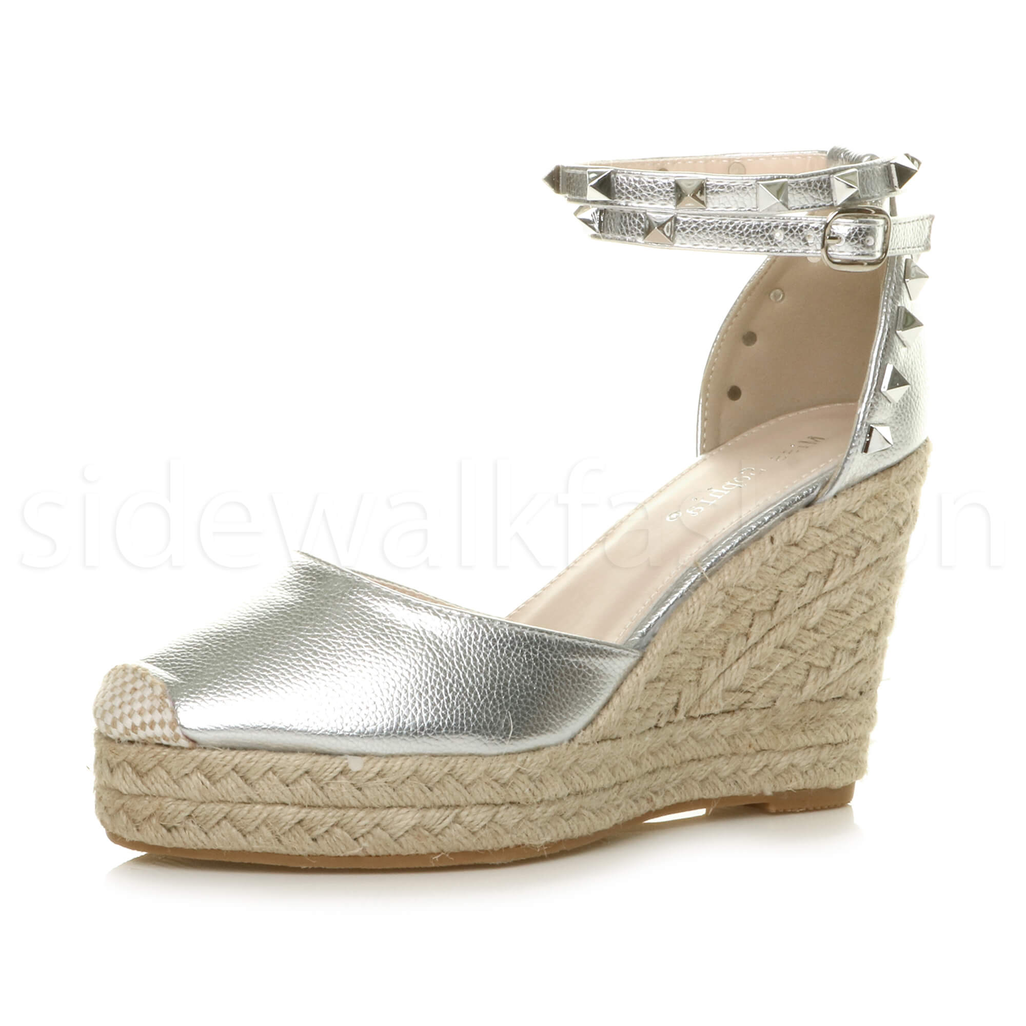 Womens-ladies-high-wedge-studded-double-ankle-strap-