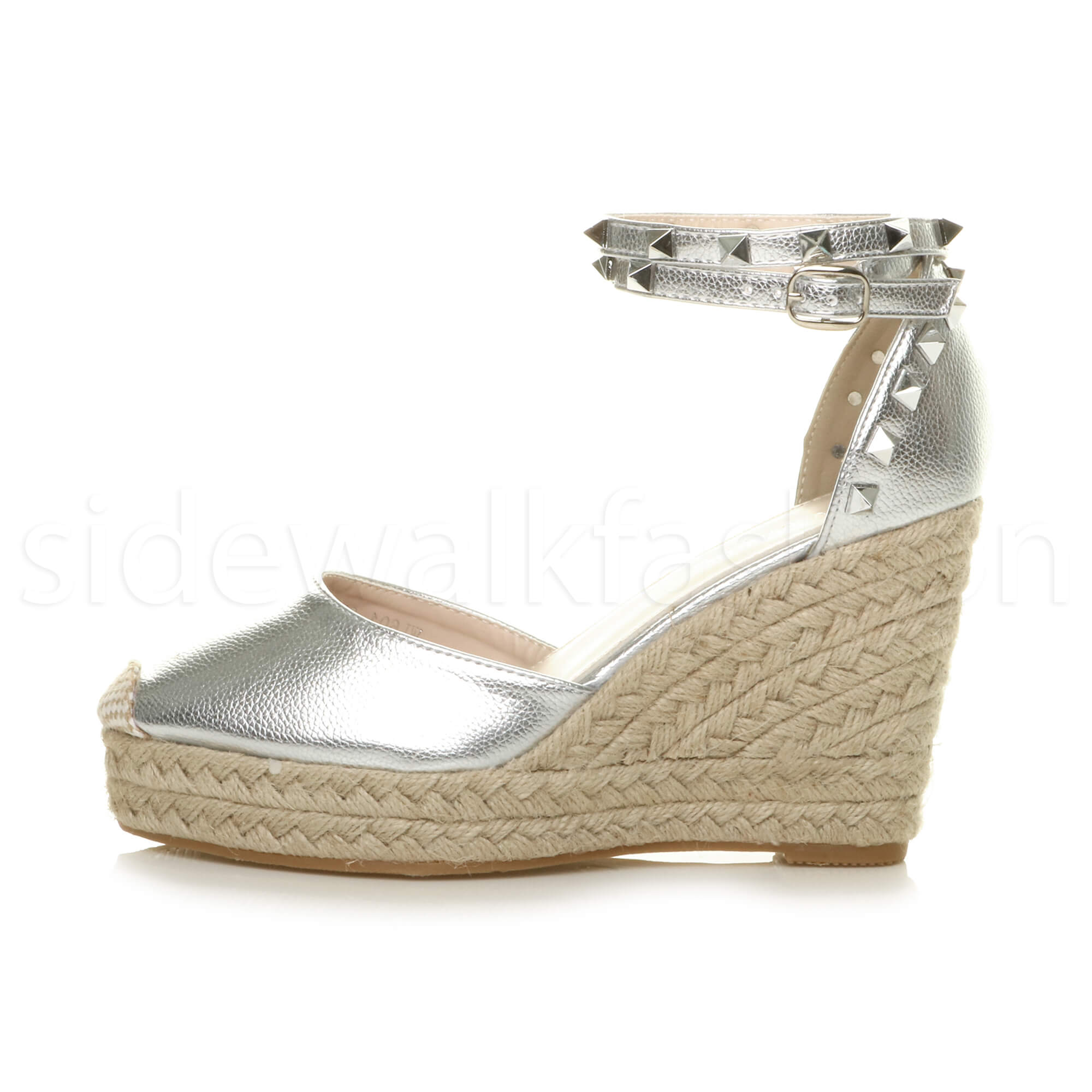 Womens-ladies-high-wedge-studded-double-ankle-strap-espadrilles-sandals-size thumbnail 27