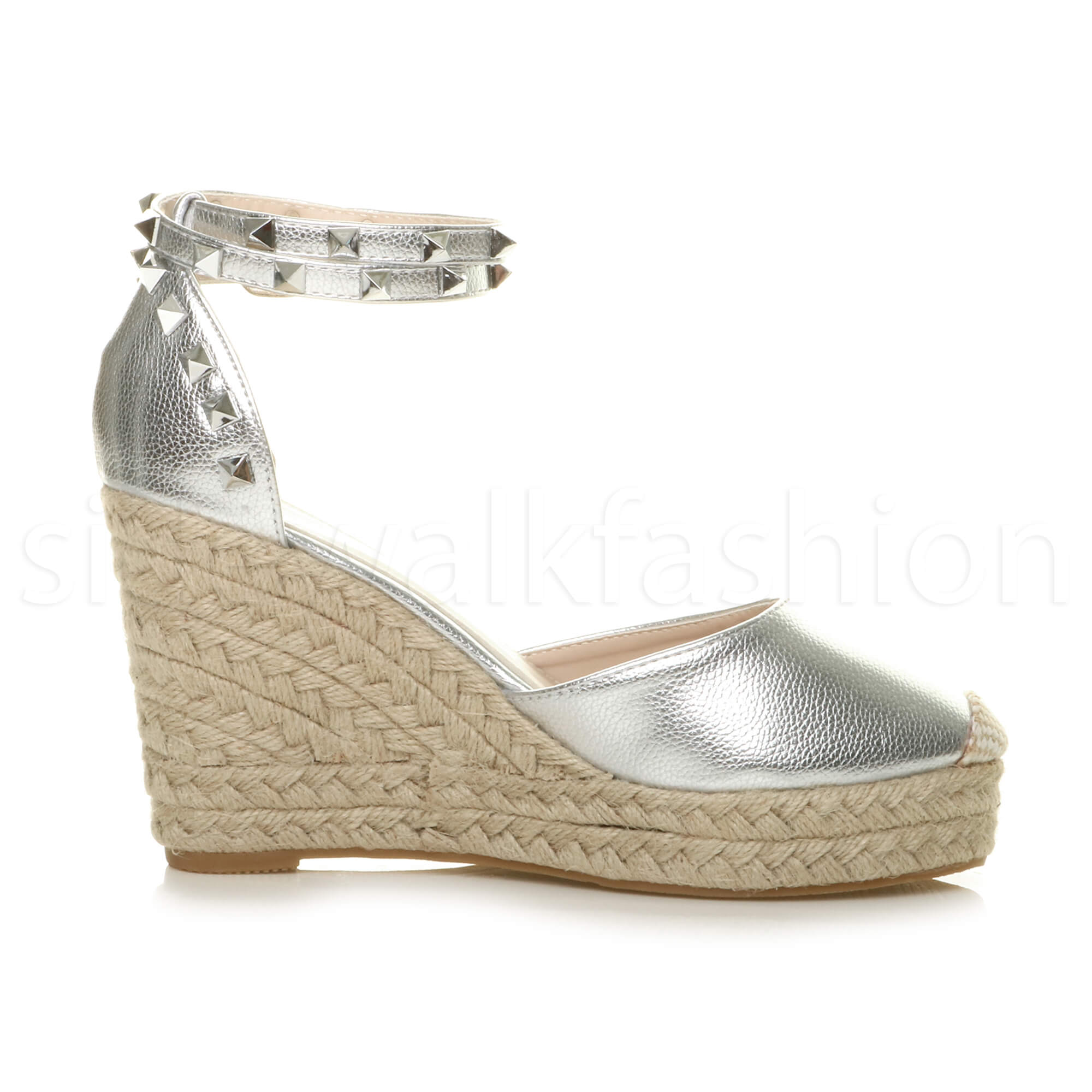Womens-ladies-high-wedge-studded-double-ankle-strap-espadrilles-sandals-size thumbnail 28