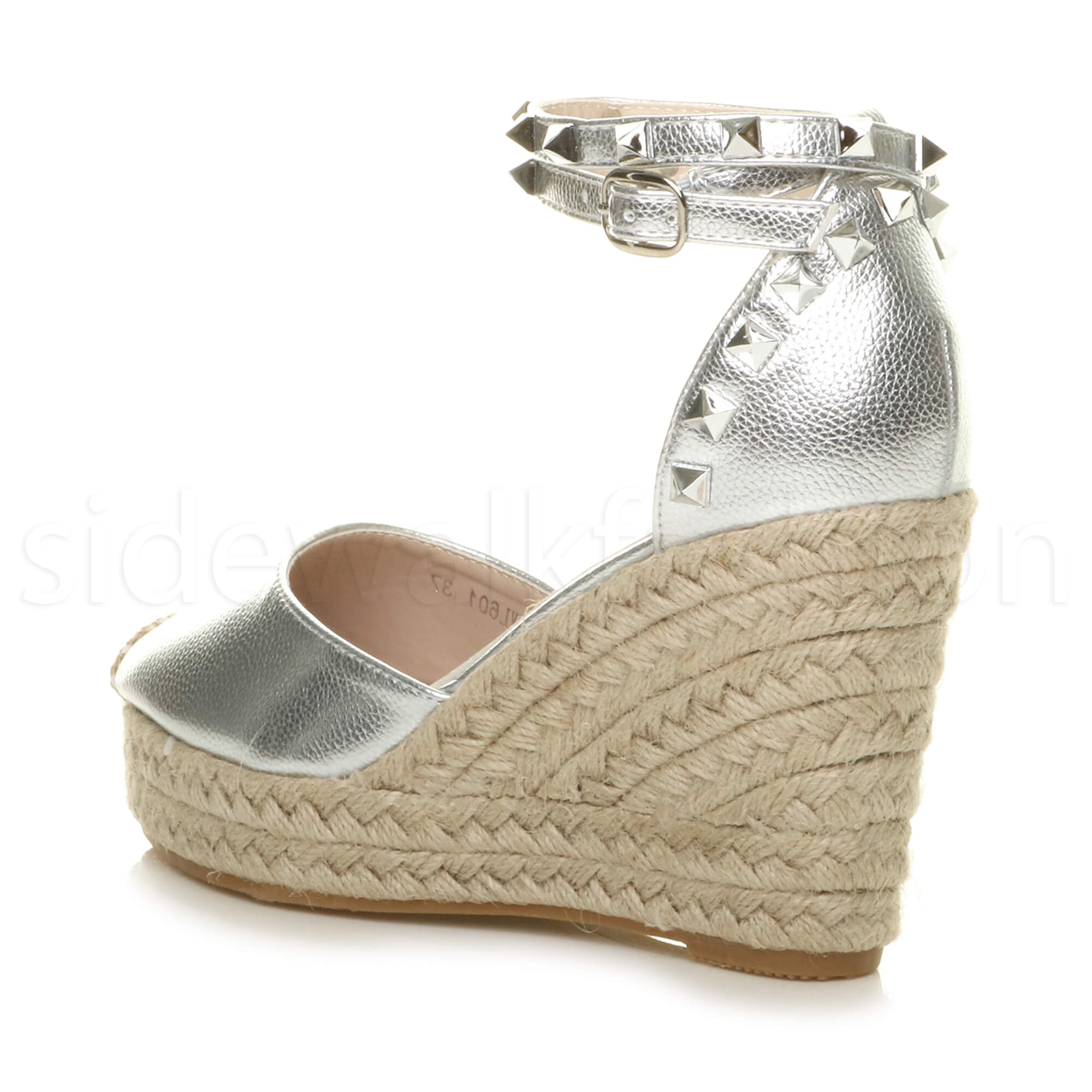 Womens-ladies-high-wedge-studded-double-ankle-strap-espadrilles-sandals-size thumbnail 29