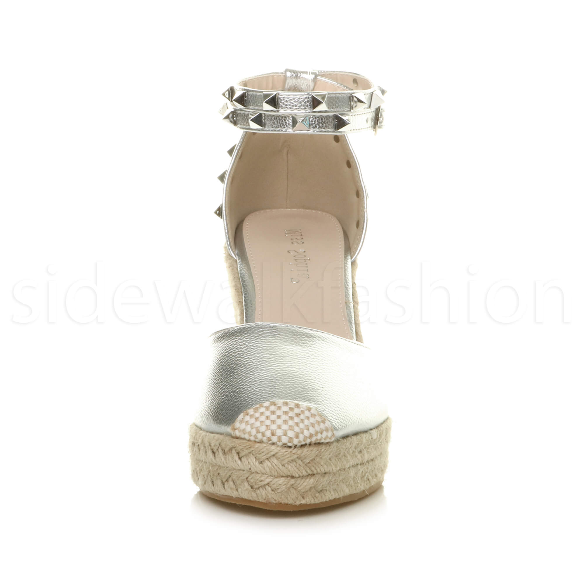 Womens-ladies-high-wedge-studded-double-ankle-strap-espadrilles-sandals-size thumbnail 31