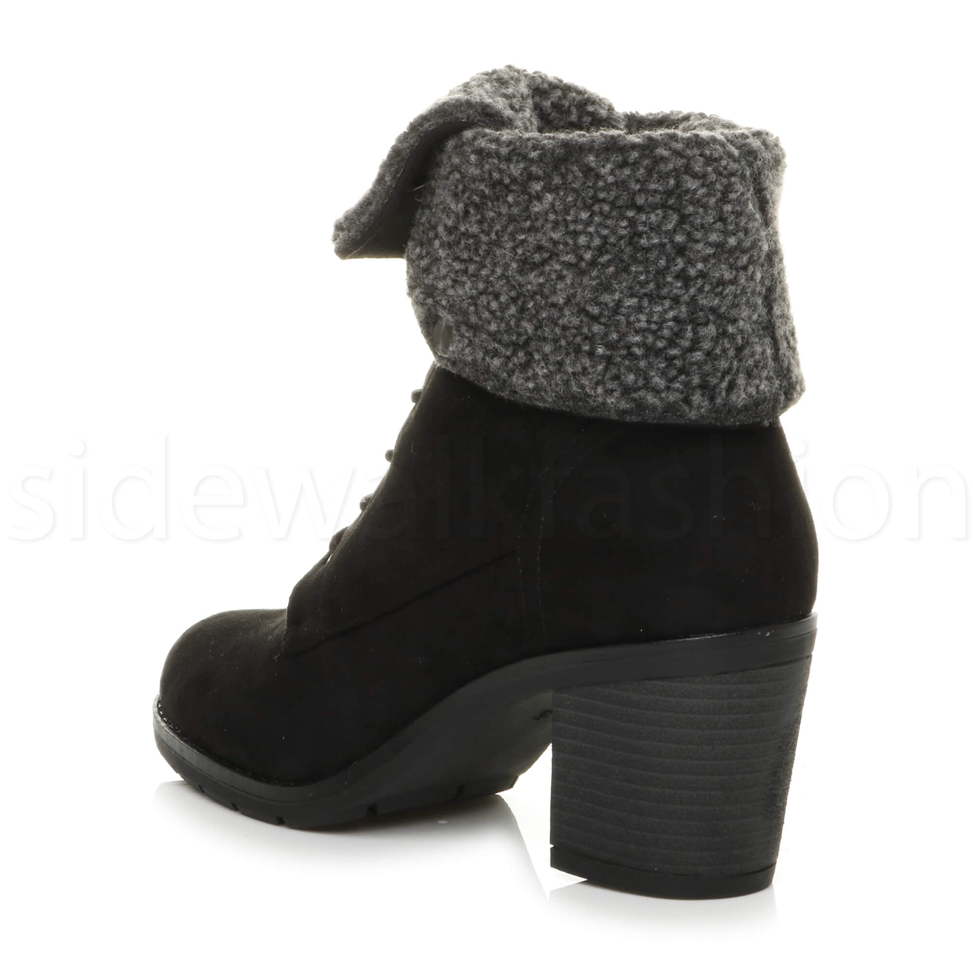 5c89be40452d Womens ladies chunky mid heel fur cuff lined winter lace up ankle ...