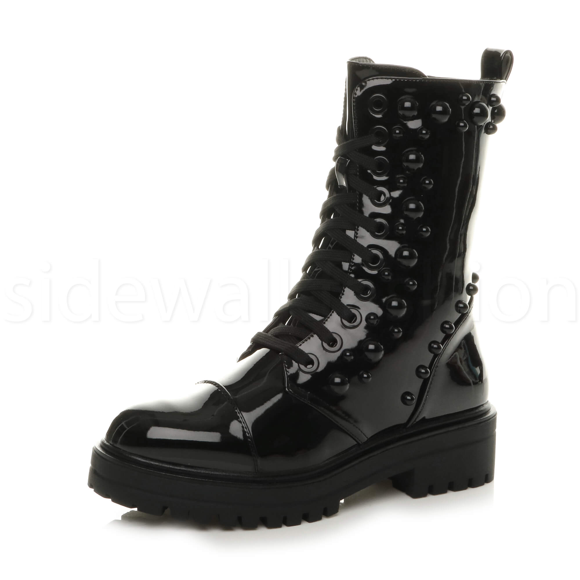 Womens Ladies Chunky Platform Combat Studded Biker Military Ankle Boots Size Ebay