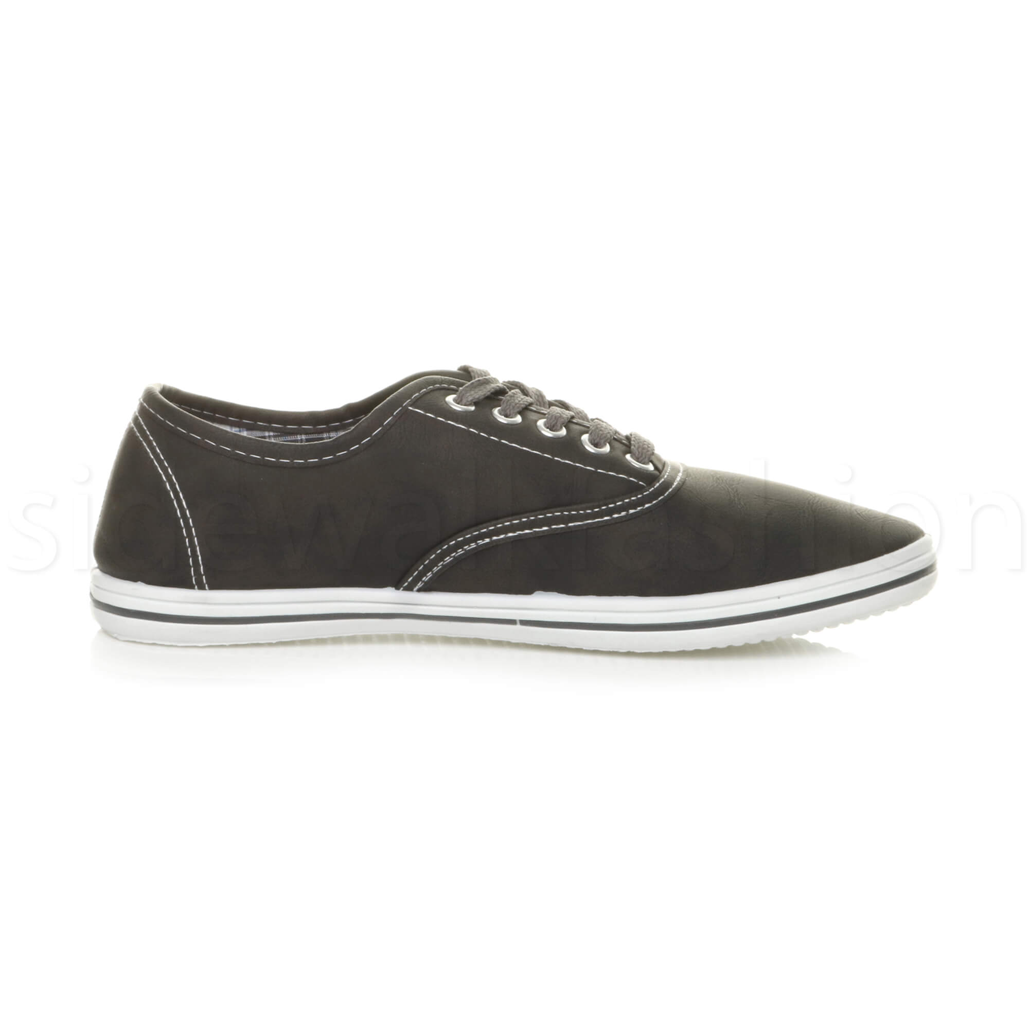 Mens-flat-lace-up-work-smart-plain-casual-pump-plimsoles-trainers-shoes-size thumbnail 4