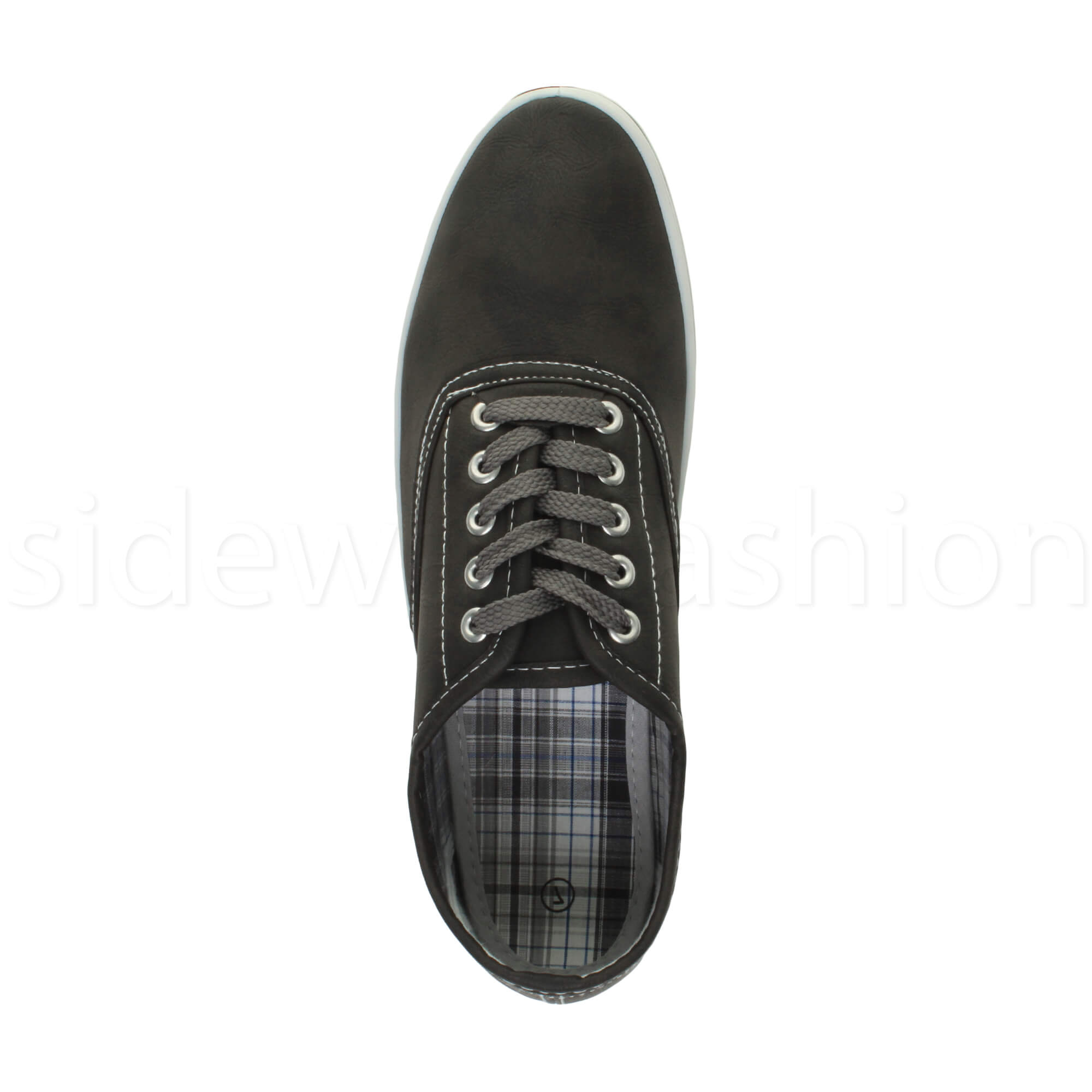 Mens-flat-lace-up-work-smart-plain-casual-pump-plimsoles-trainers-shoes-size thumbnail 6
