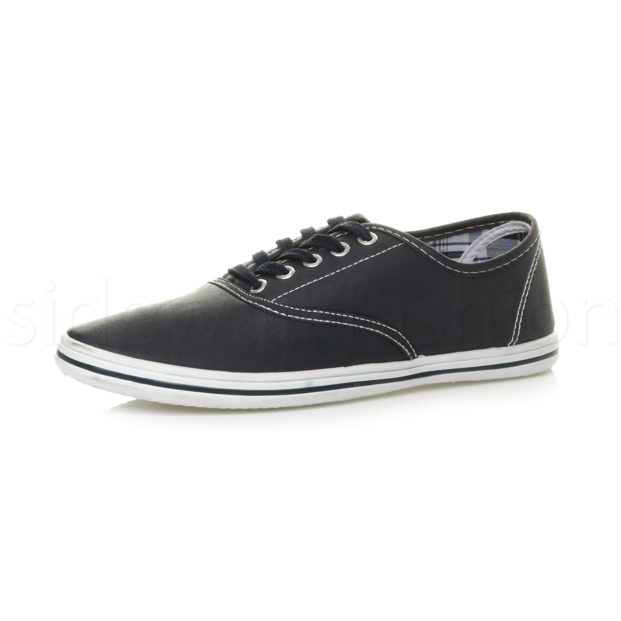 Mens-flat-lace-up-work-smart-plain-casual-pump-plimsoles-trainers-shoes-size thumbnail 9