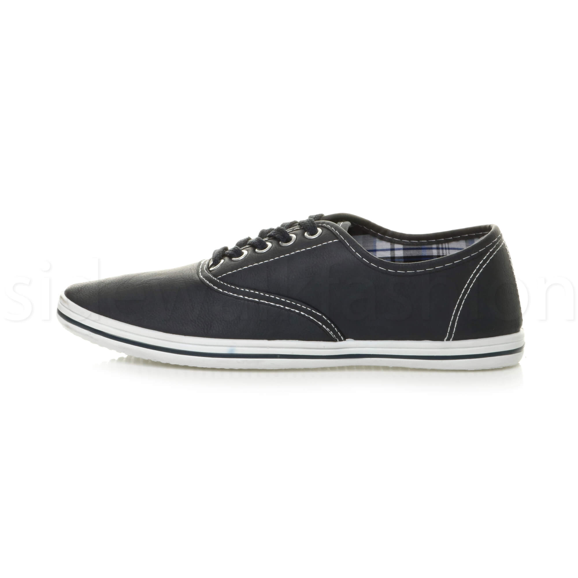 Mens-flat-lace-up-work-smart-plain-casual-pump-plimsoles-trainers-shoes-size thumbnail 10