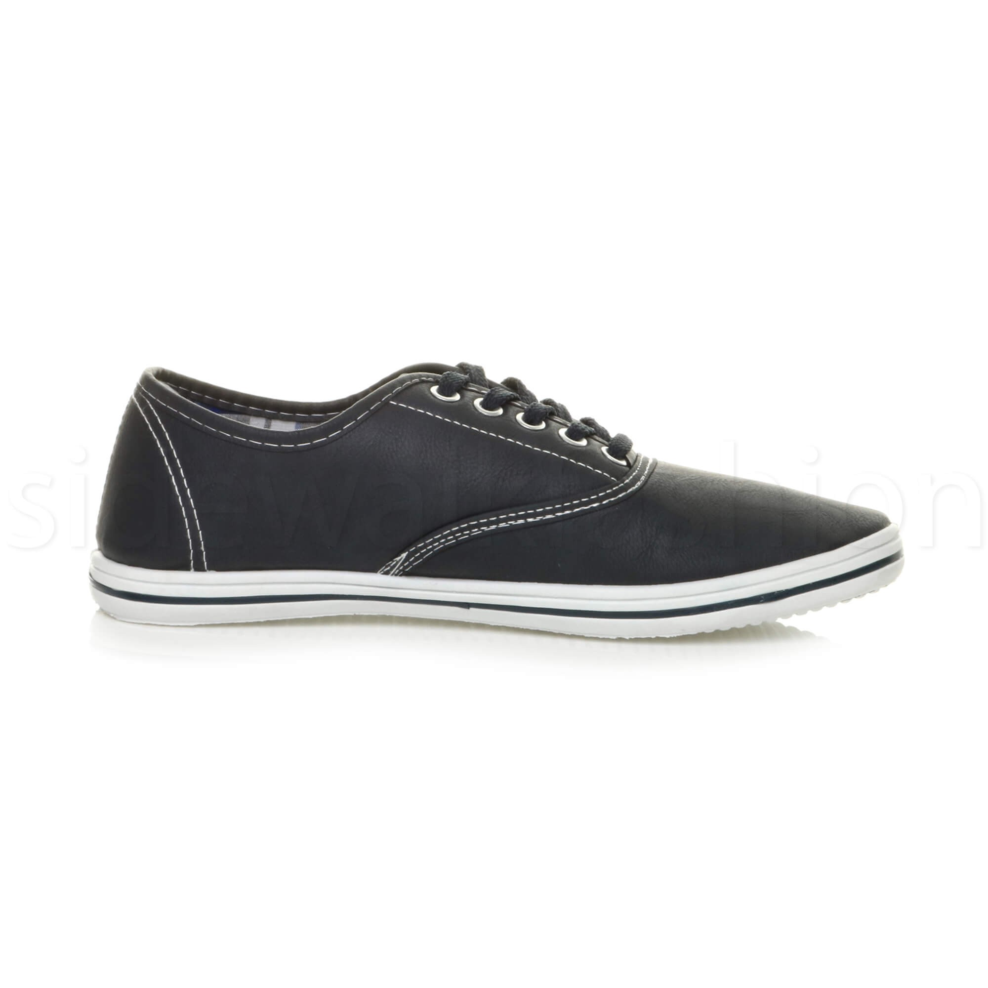 Mens-flat-lace-up-work-smart-plain-casual-pump-plimsoles-trainers-shoes-size thumbnail 11