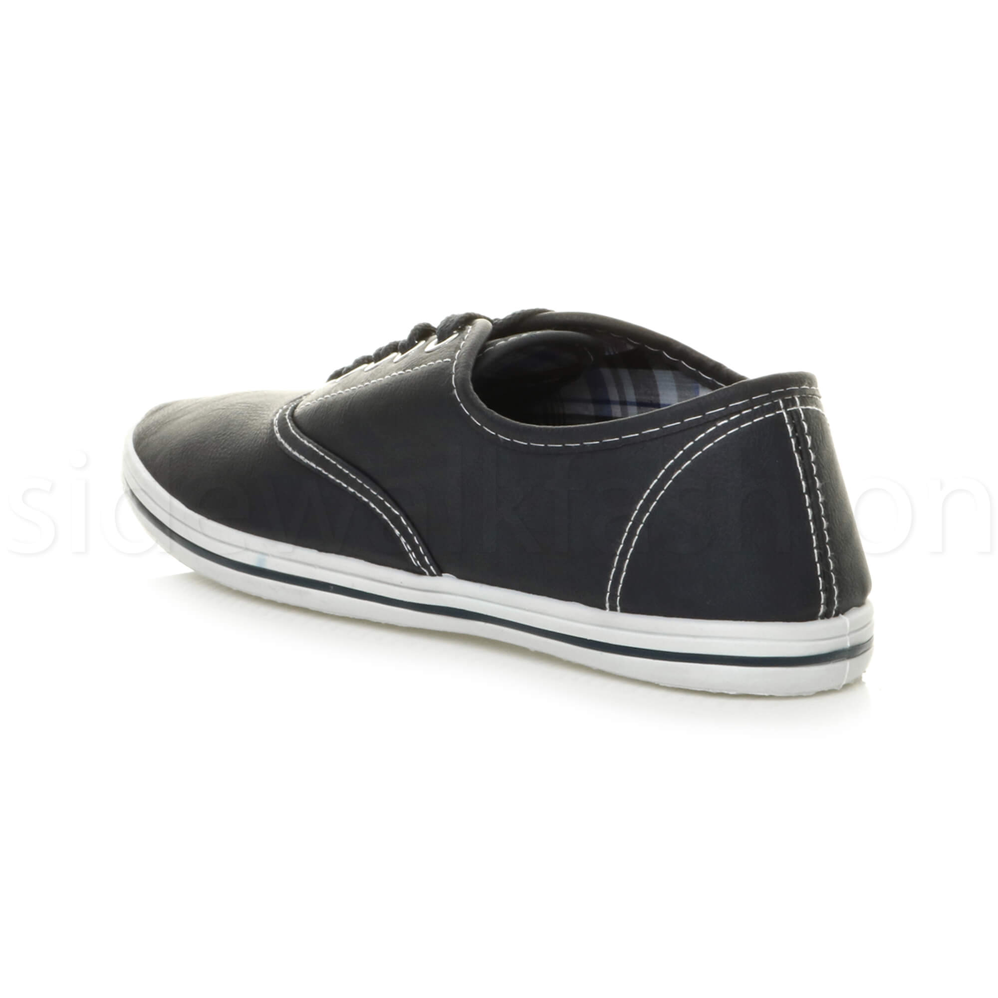 Mens-flat-lace-up-work-smart-plain-casual-pump-plimsoles-trainers-shoes-size thumbnail 12