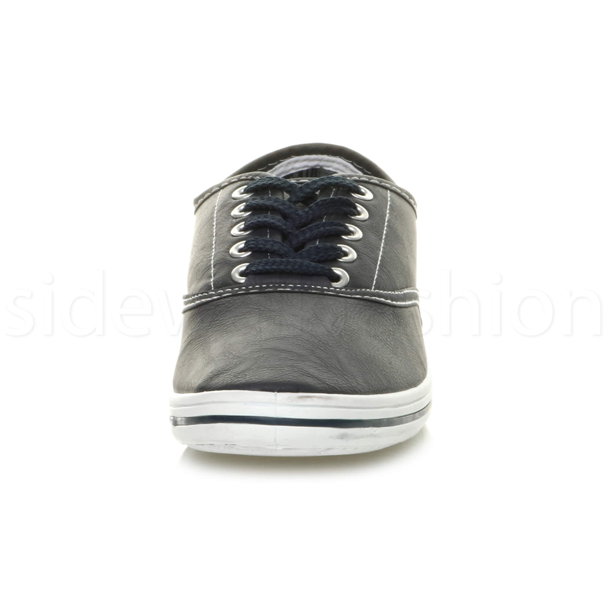 Mens-flat-lace-up-work-smart-plain-casual-pump-plimsoles-trainers-shoes-size thumbnail 14