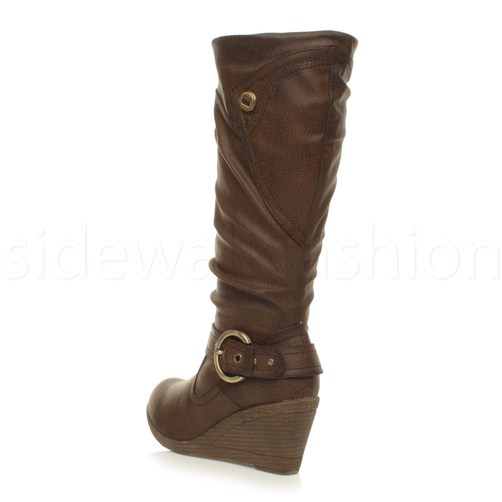 Womens ladies mid heel wedge buckle zip distressed biker riding calf boots size