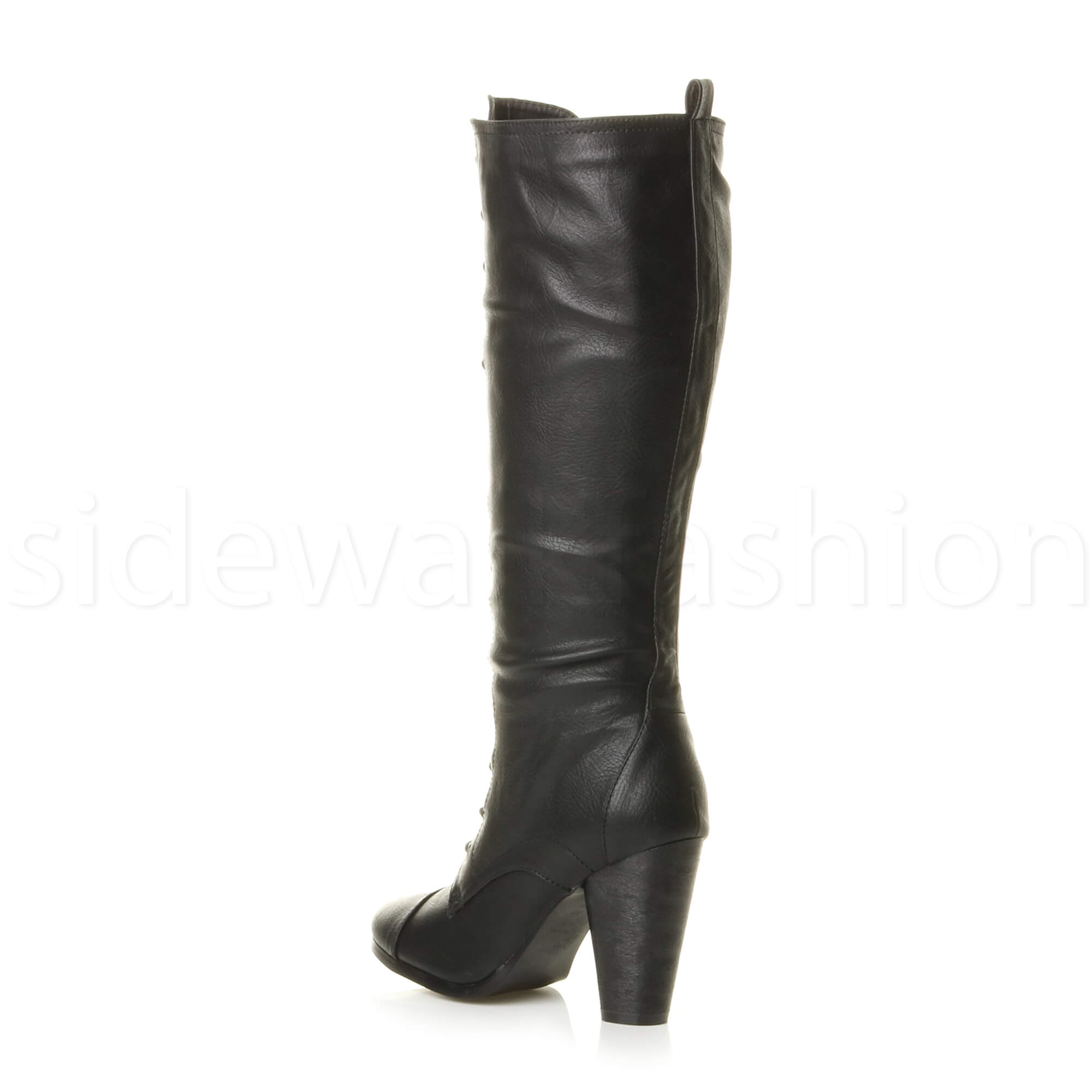 12621e074a2 Womens ladies lace up calf knee high heel combat military victorian ...