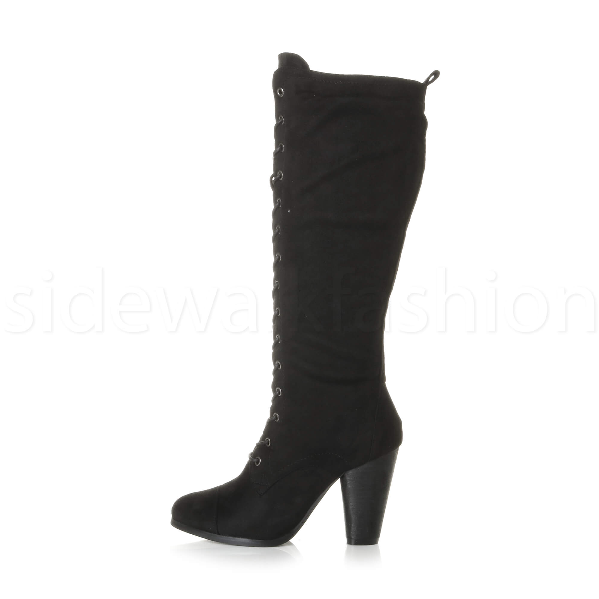 Womens-ladies-lace-up-calf-knee-high-heel-combat-military-victorian-boots-size
