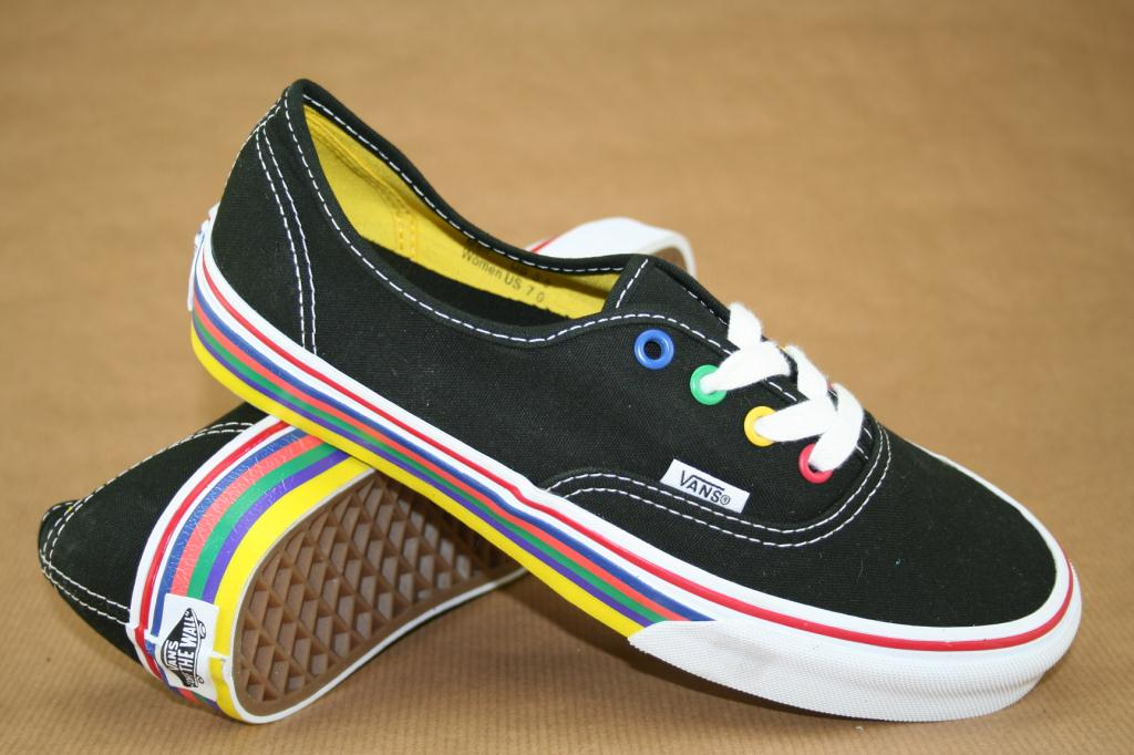 Rainbow Vans: Vans Authentic (Rainbow Sidewall) Black Sample Skate Shoes