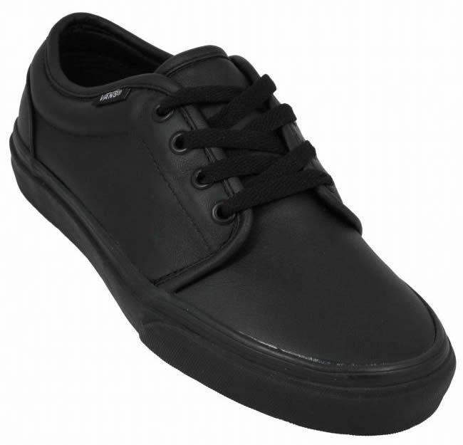 7661b13444 authentic black leather vans women