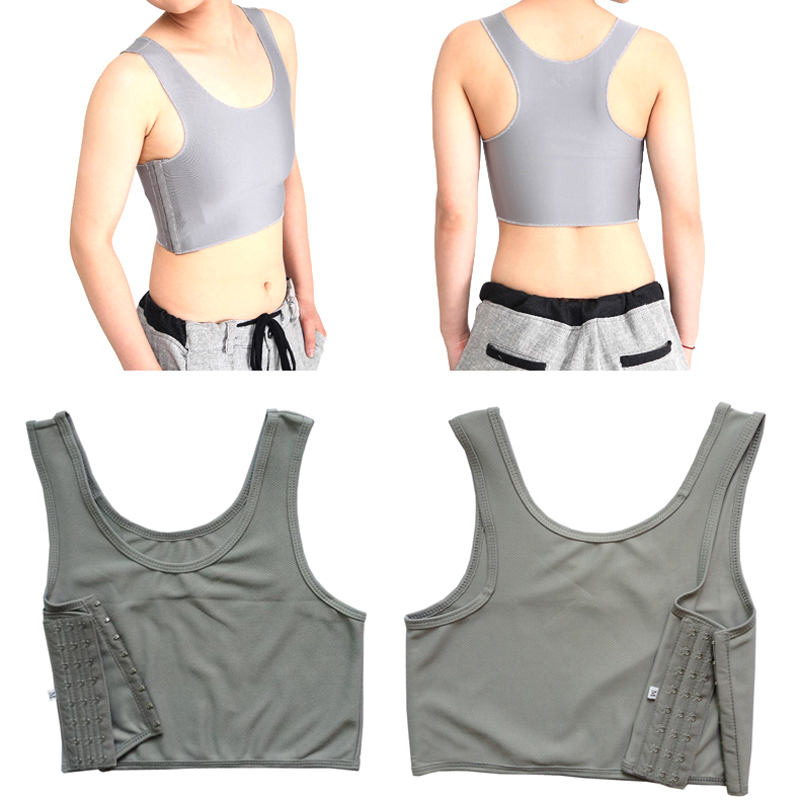 Grey M, Gym Exercise Strapless Chest Breast Binder Trans