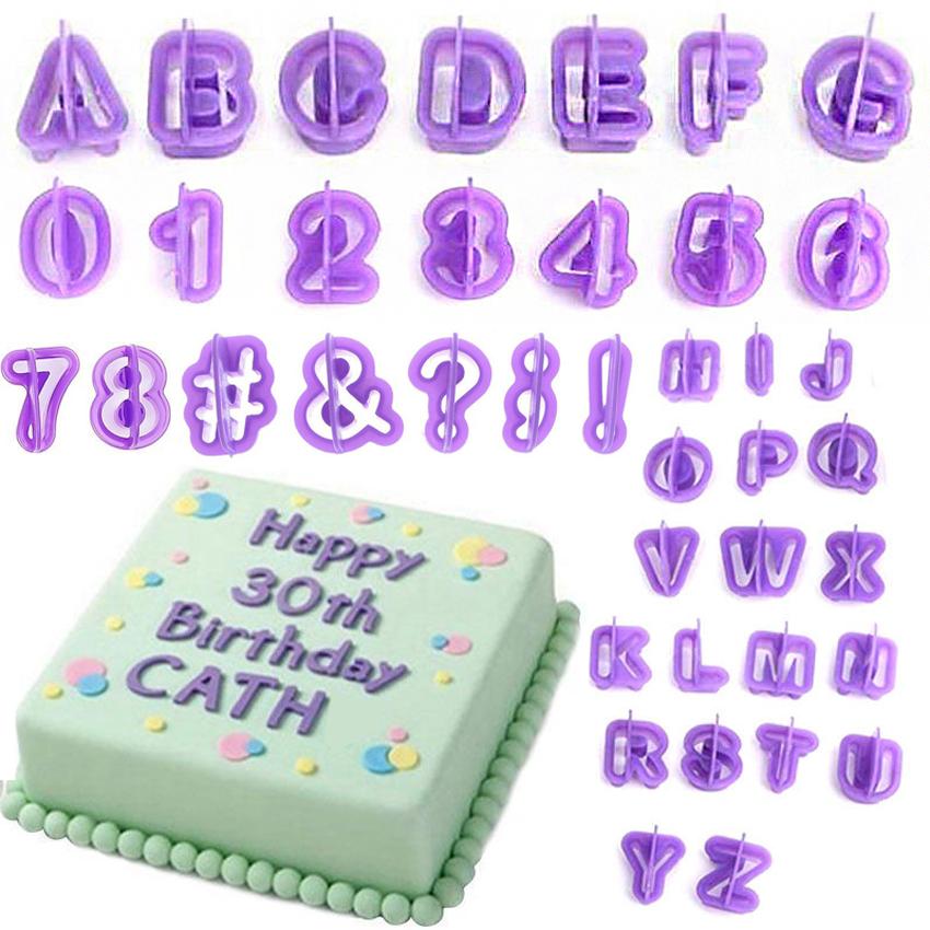 40pcs Alphabet Number Letter Fondant Cake Decorating Set ...