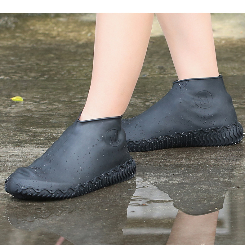 Silicone-Overshoes-Rain-Waterproof-Shoe-Covers-Boot-Cover-Protector-Recyclable miniature 4