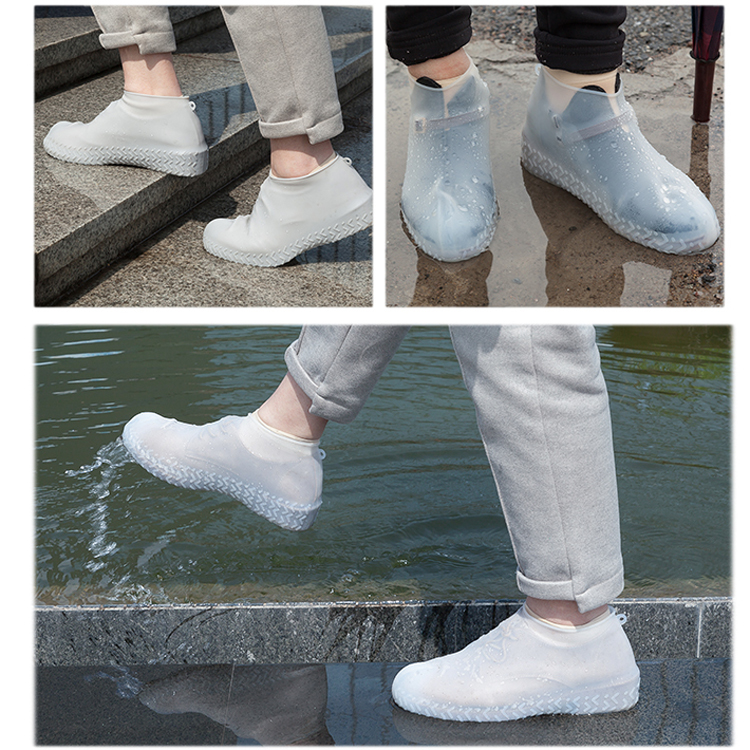 Silicone-Overshoes-Rain-Waterproof-Shoe-Covers-Boot-Cover-Protector-Recyclable miniature 9