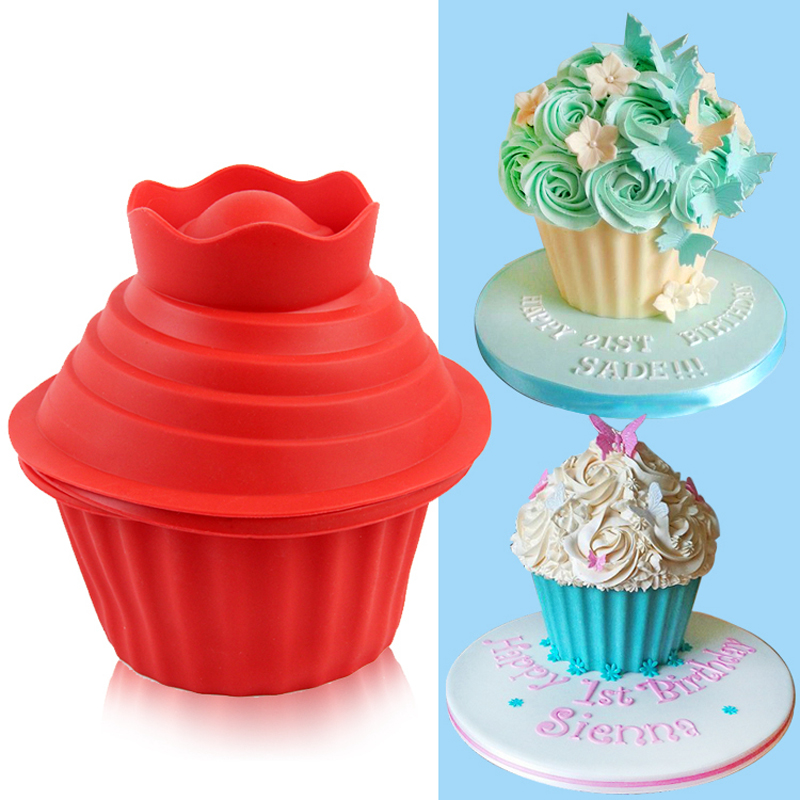 Excellent 3Pc Big Top Giant Cupcake Mould Jumbo Silicone Birthday Cup Cake Funny Birthday Cards Online Overcheapnameinfo