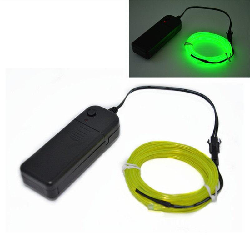 5M LED Flash Flexible Neon Light Glow EL Strip Tube Wire Rope+ ...