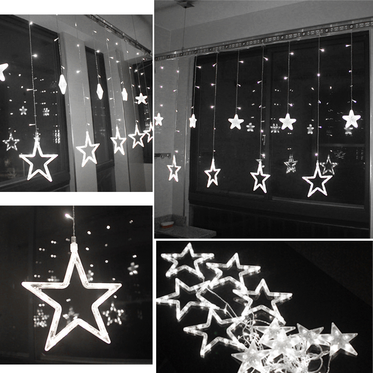 Twinkling 48 led 12 stars window display fairy lights best for 6 star window christmas decoration lights