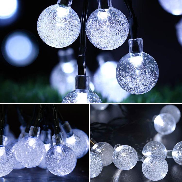 New Outdoor Garden 8 Led Solar Shed Eaves Work Light Lamp: 30 Globe Crystal Ball White LED Hanging Garden Lights