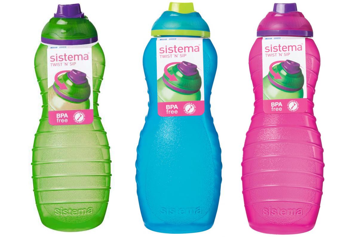 3 Sistema 700ml Twist n Sip Drinks Water Bottles Plastic Pink Blue ...