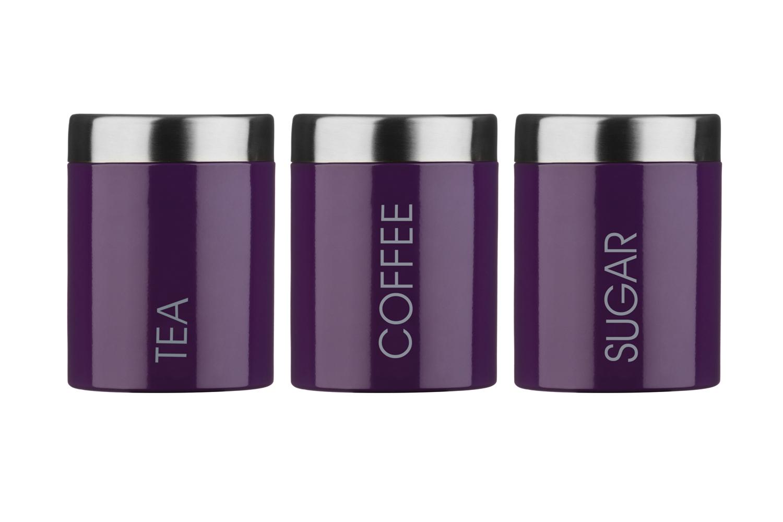 Premier Housewares lila Tee Kaffee Zucker Lager- Kanister Krüge 3er ...
